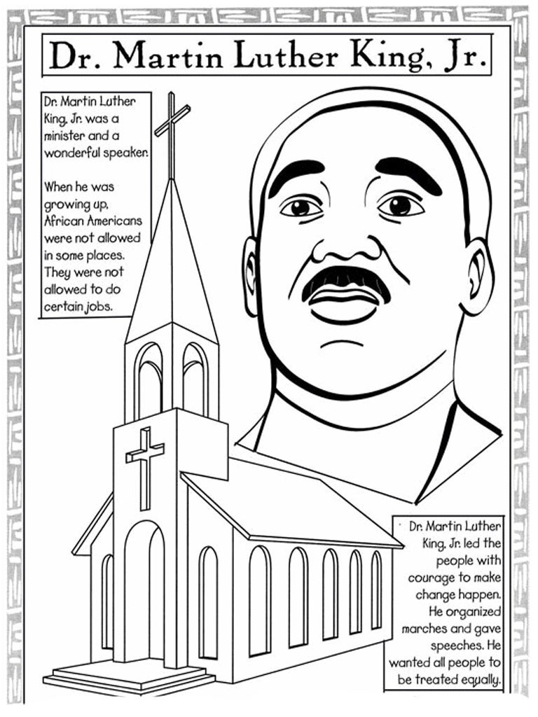 Coloring Pages Ideas: Coloring Pages For Martin Luther King Jr - Martin Luther King Free Printable Coloring Pages