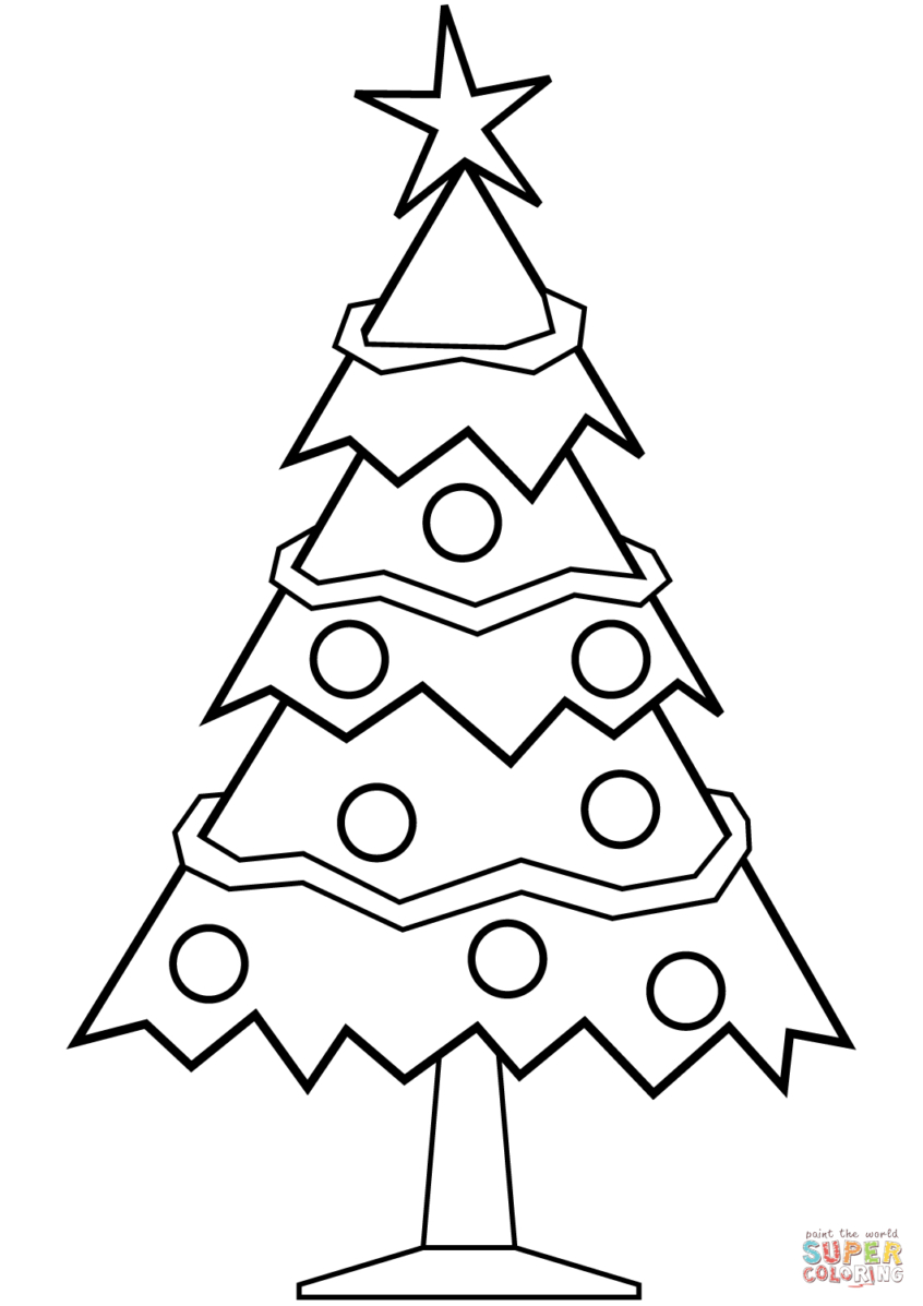 Coloring Pages Ideas: Simple Christmas Tree Coloring Page Free - Free Printable Christmas Tree Images