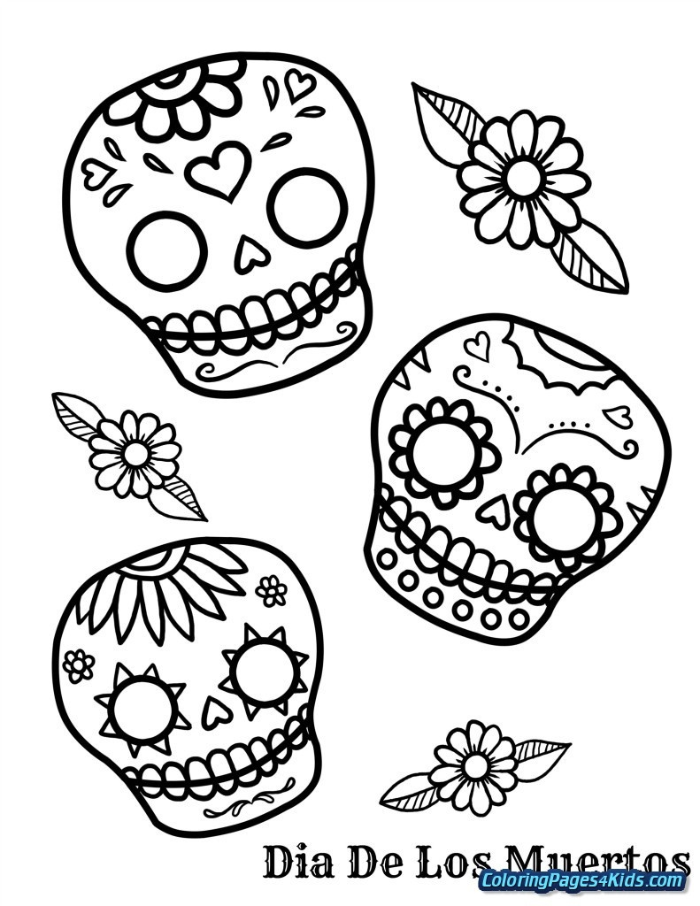 Coloring Pages Ideas: Sugar Skull Coloring Pages Photo Ideas - Free Printable Day Of The Dead Worksheets