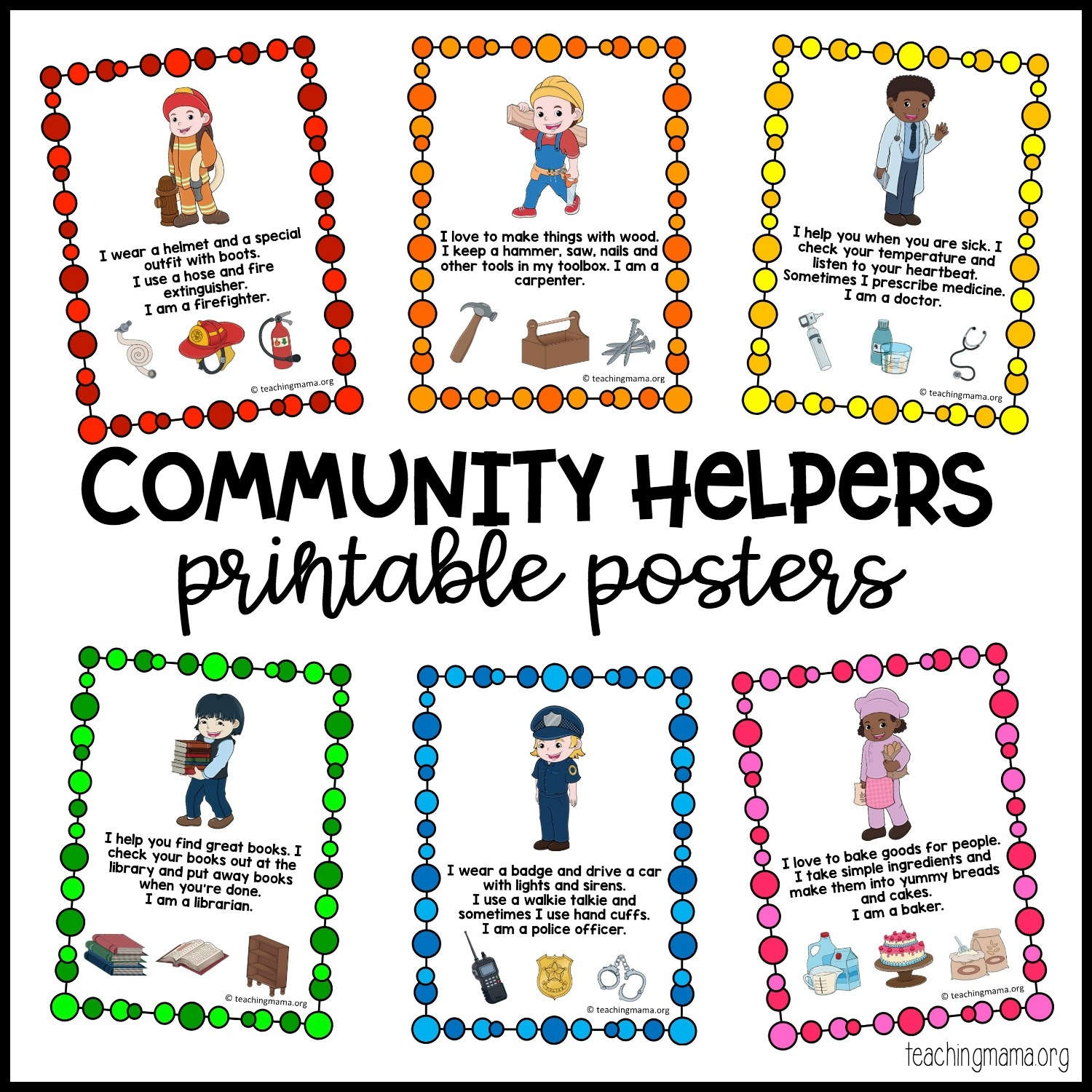 Community Helpers Printable Posters - Teaching Mama - Free Printable Preschool Posters