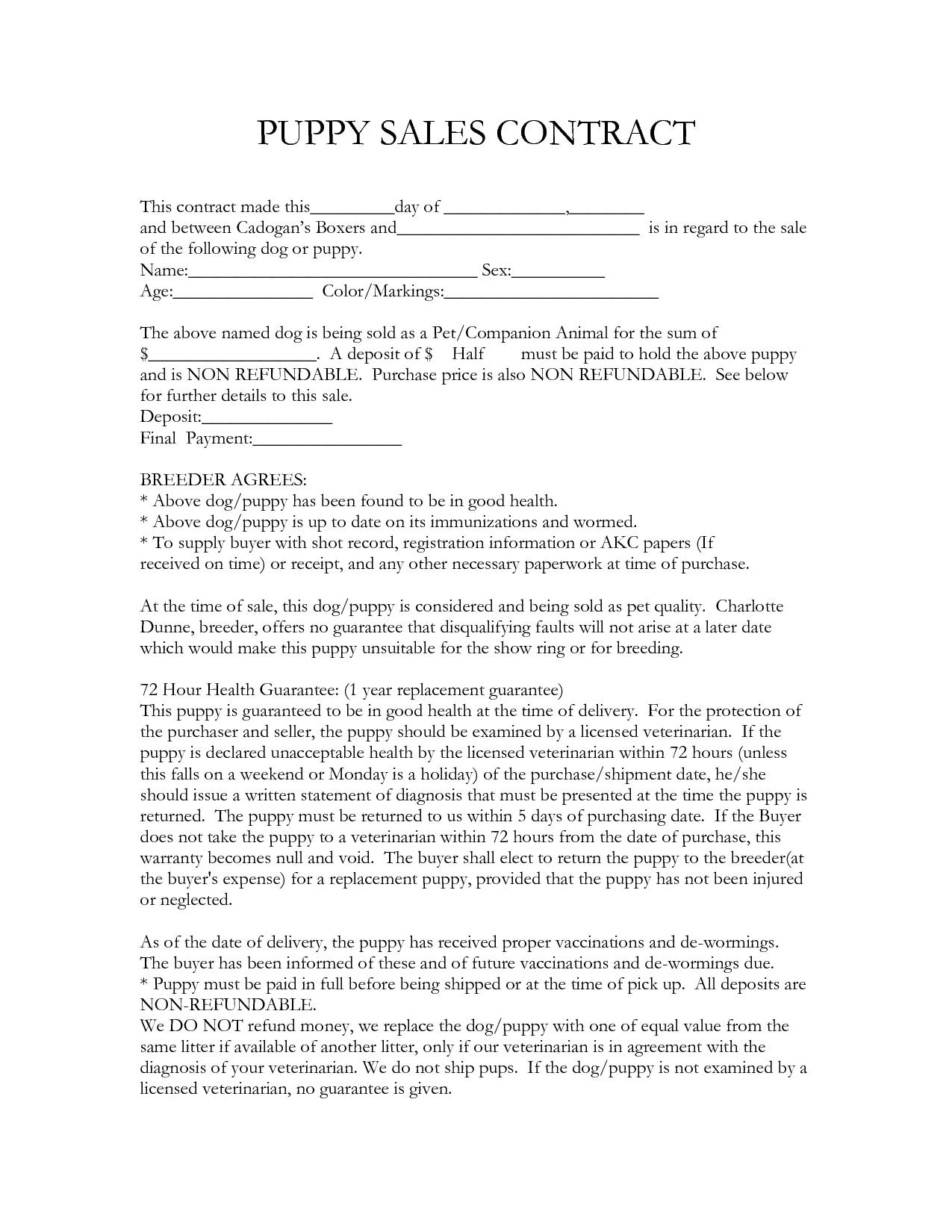 Contract Template | Free Microsoft Word Templates. Sale Contract - Free Printable Puppy Sales Contract