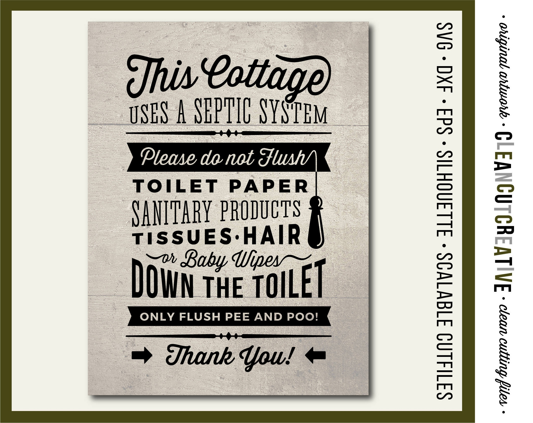 Cottage Svg Bathroom Sign Septic System Do Not Flush Svg | Etsy - Free Printable Do Not Flush Signs