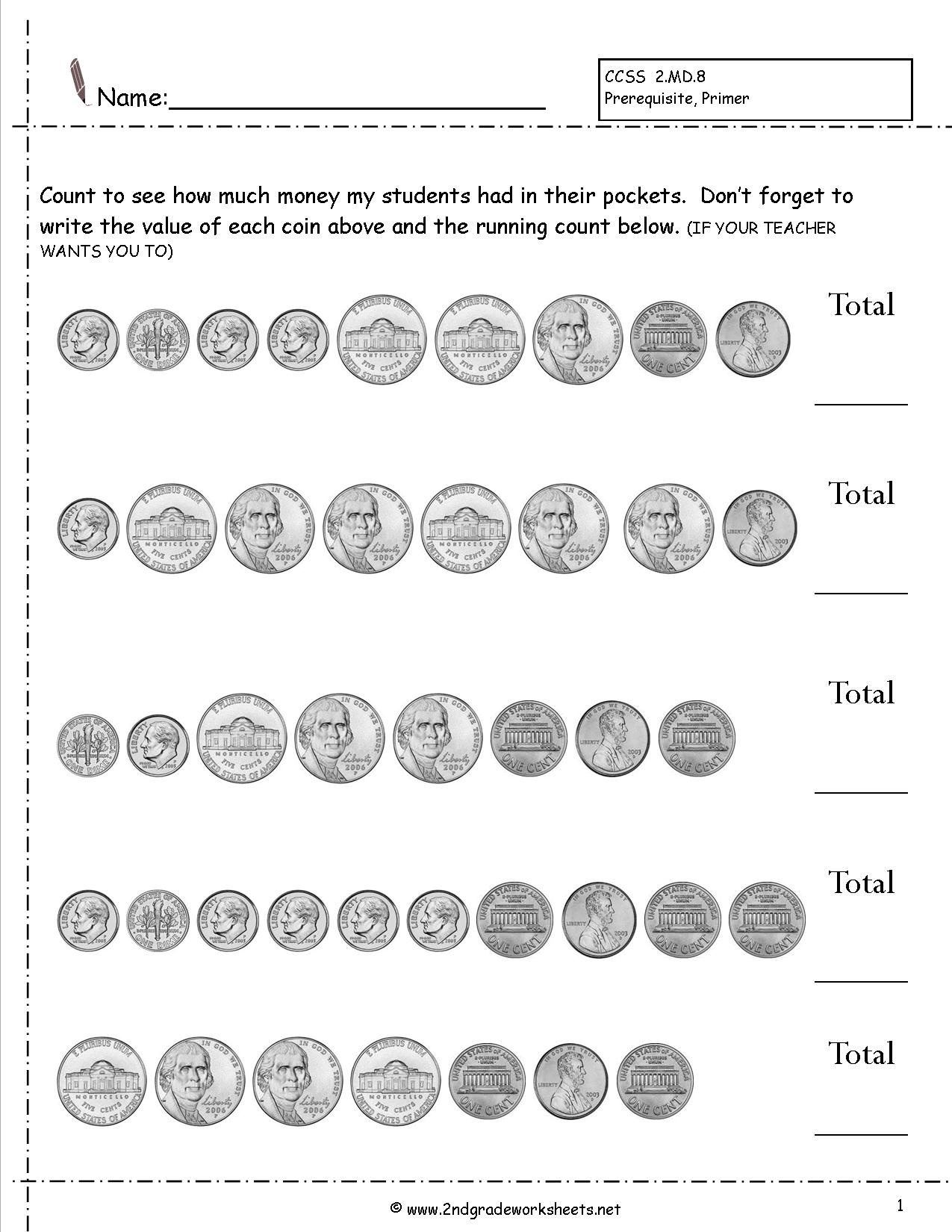 Counting Coins And Money Worksheets And Printouts - Free Printable Money Worksheets