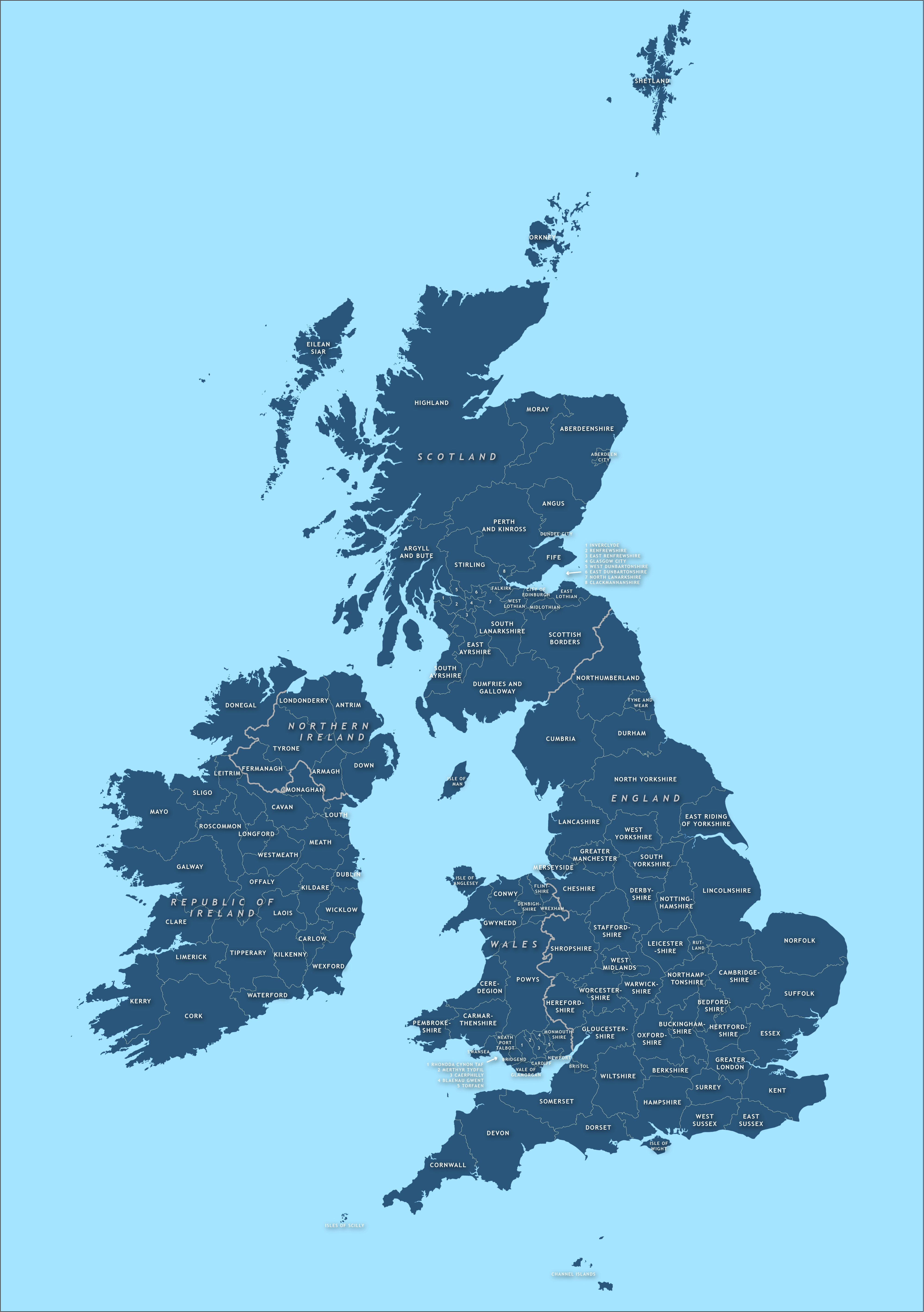 County Map Of Britain And Ireland - Royalty Free Vector Map - Maproom - Free Printable Map Of Uk And Ireland
