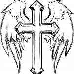Cross Coloring Pages Fresh Cross With Wings Coloring Page   Free Printable Cross Tattoo Designs