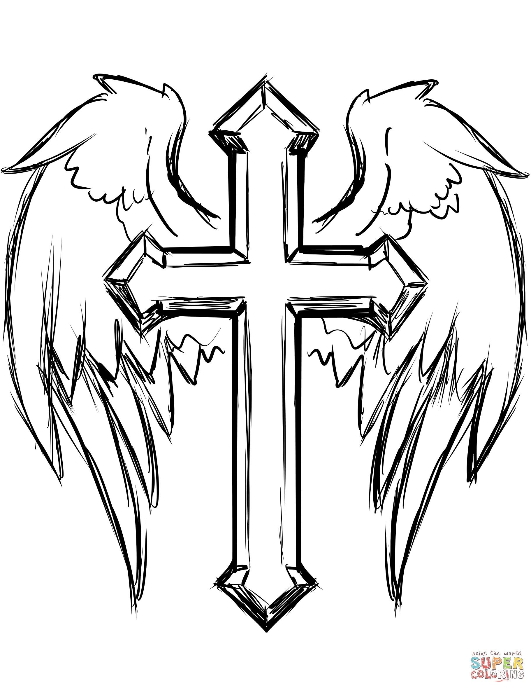 Cross Coloring Pages Fresh Cross With Wings Coloring Page - Free Printable Cross Tattoo Designs