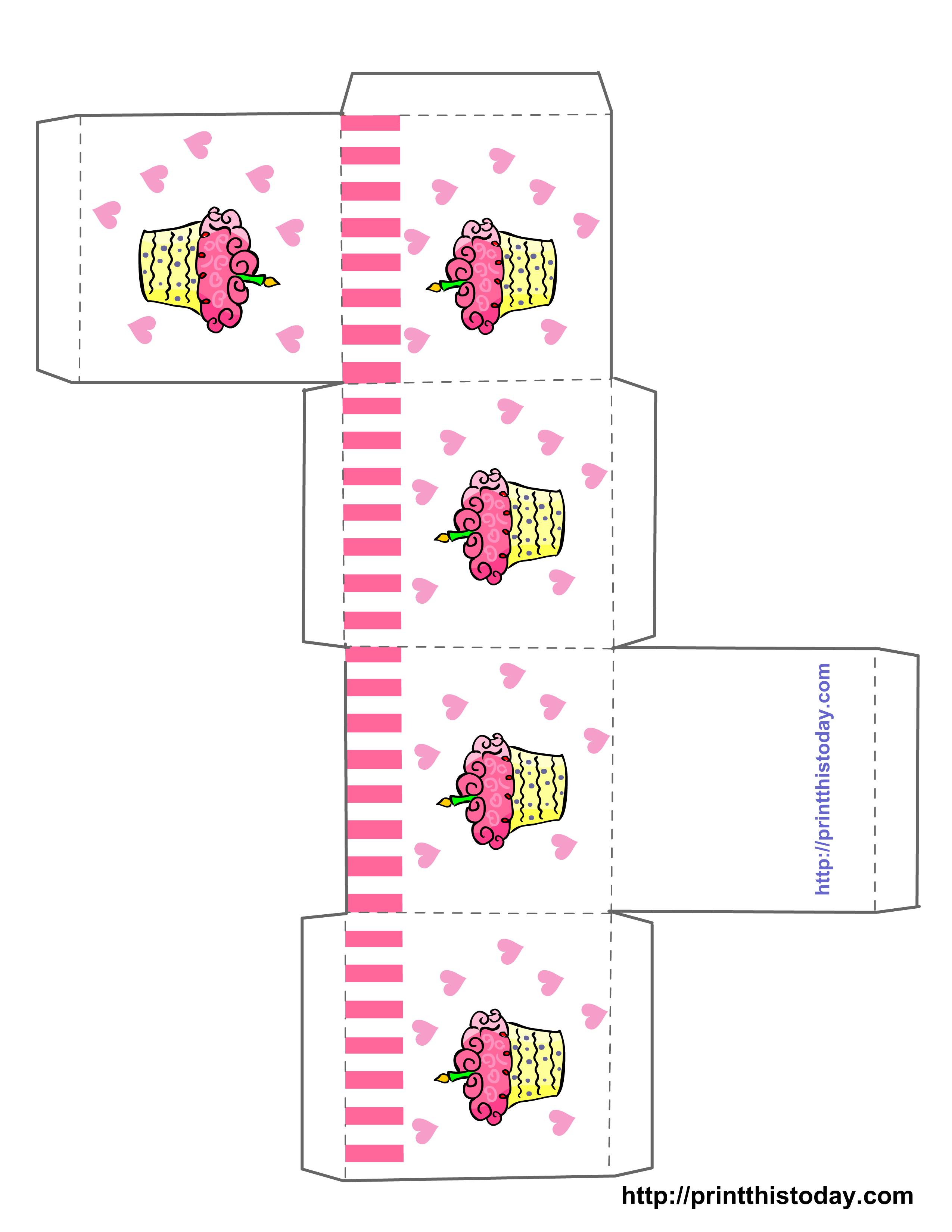 Cupcake Boxes Template Printable | Free Printable Birthday Favor - Gift Box Templates Free Printable
