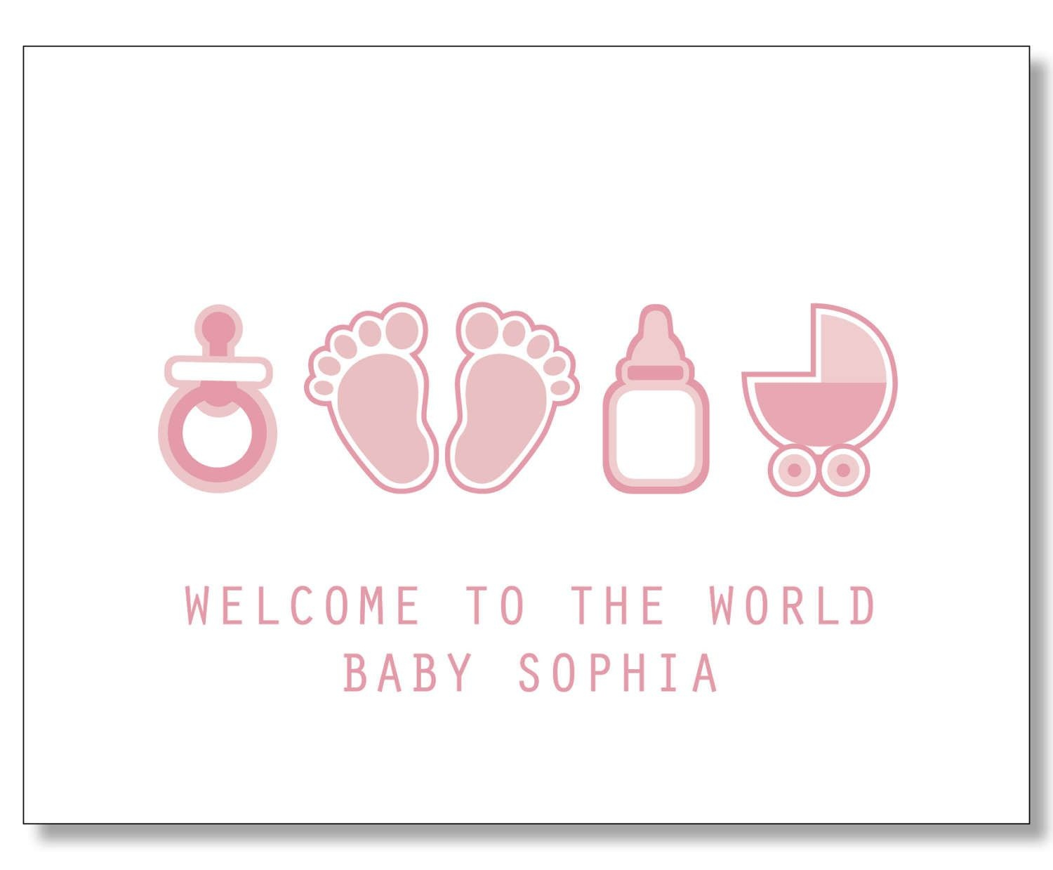 Custom Baby Girl Card. Custom Baby Name Card. New Mom Card - Congratulations On Your Baby Girl Free Printable Cards
