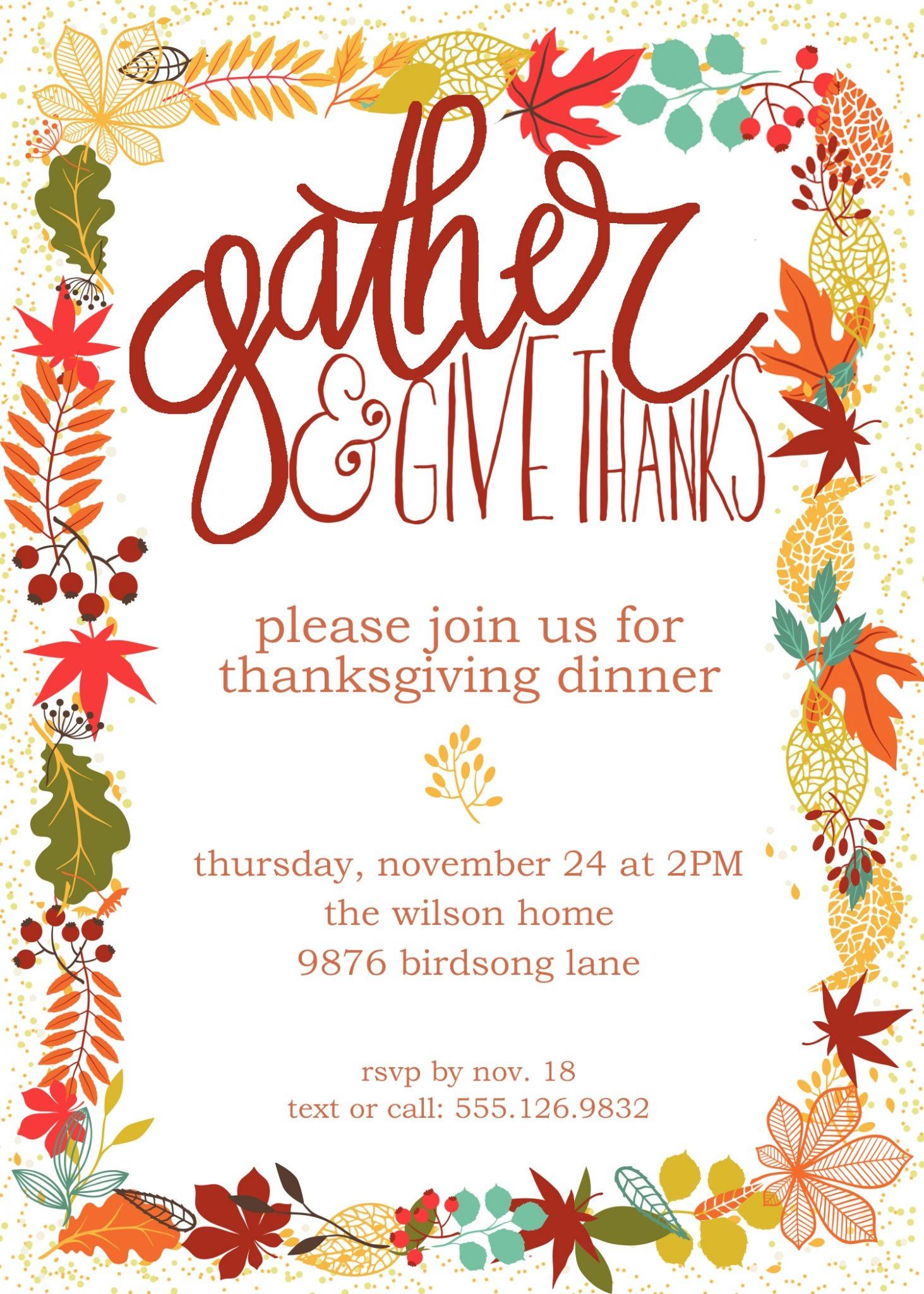 Customizable Thanksgiving Invitation | Free Printable - Free Printable Thanksgiving Invitations
