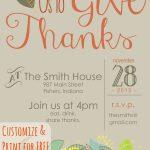 Customizable Thanksgiving Invitation | Recipe & Holiday Favorites   Free Printable Thanksgiving Invitations