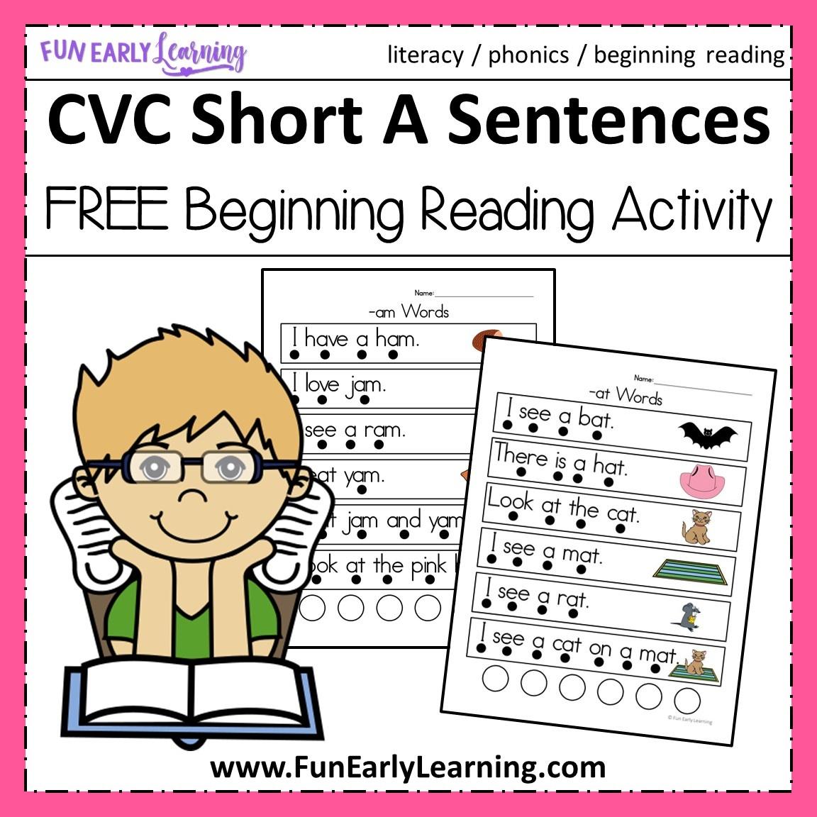 Cvc Short A Sentences - Beginning Reading And Phonemic Awareness - Free Phonics Readers Printable