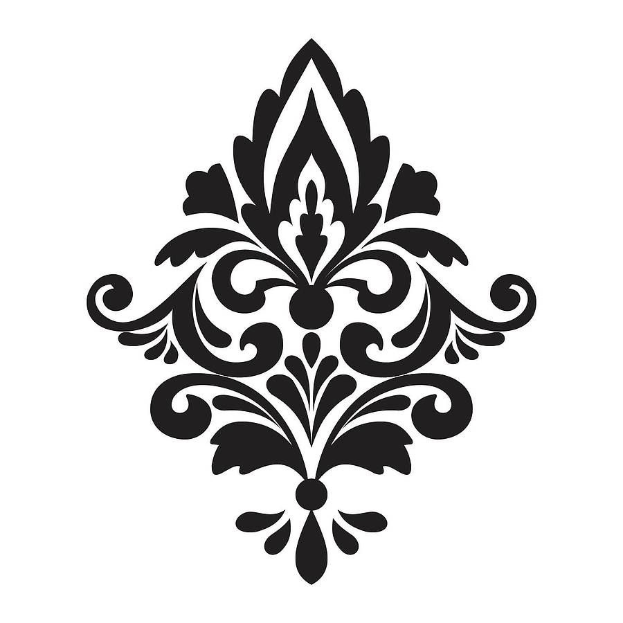 Damask Wall Stickers | Stencils | Printable Stencil Patterns, Shabby - Damask Stencil Printable Free