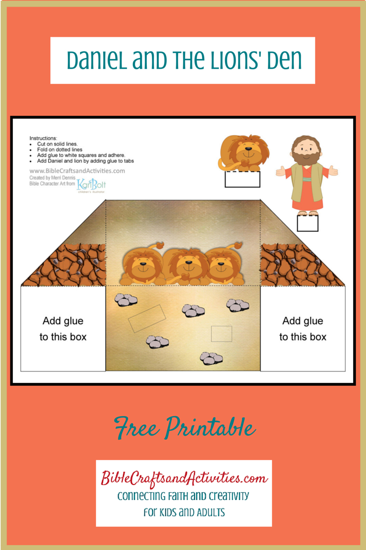 Daniel And The Lions' Den Free Printable Diorama Use For Young - Free Printable Bible Crafts For Preschoolers