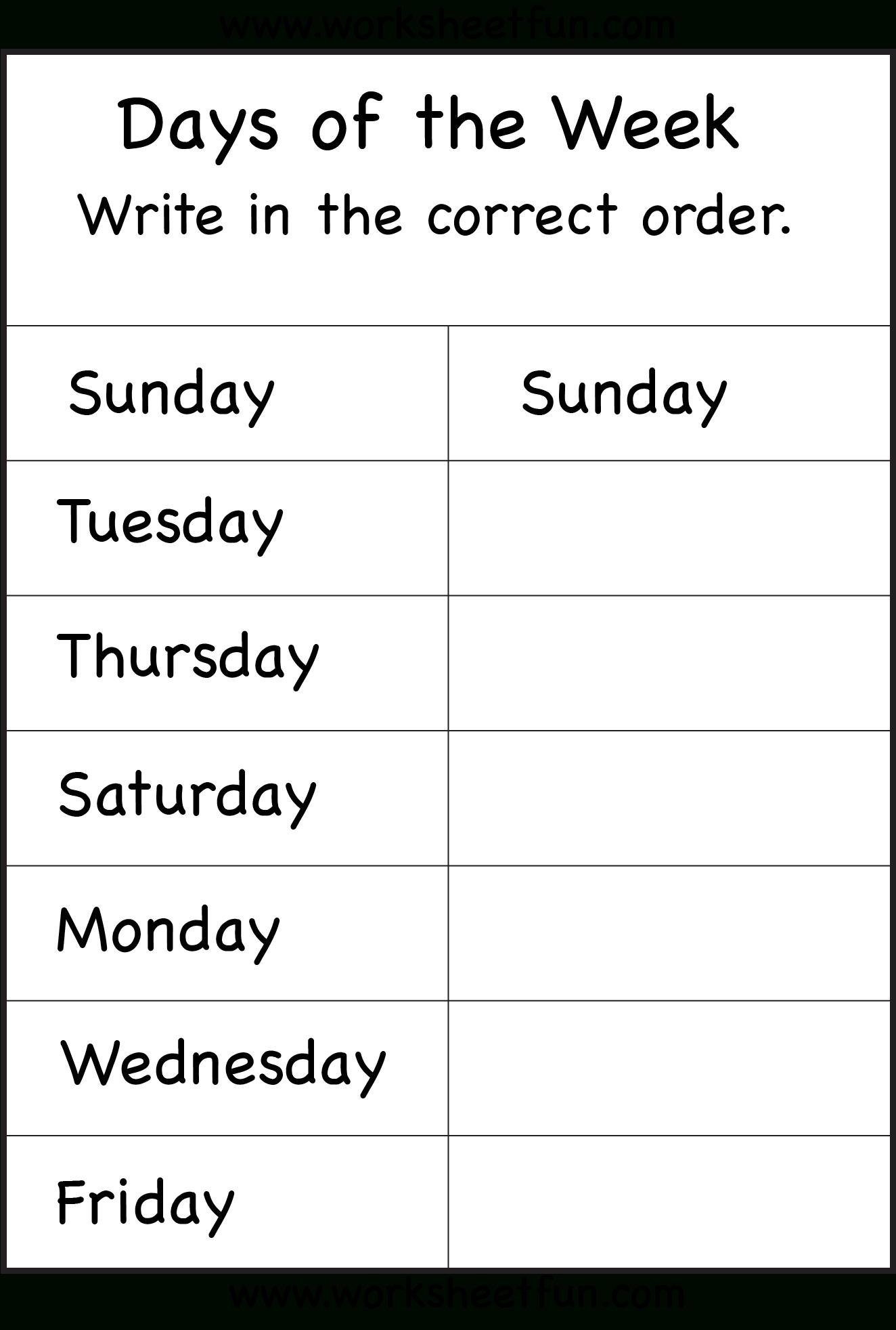 Days Of The Week – 1 Worksheet / Free Printable Worksheets - Free Printable Days Of The Week Cards