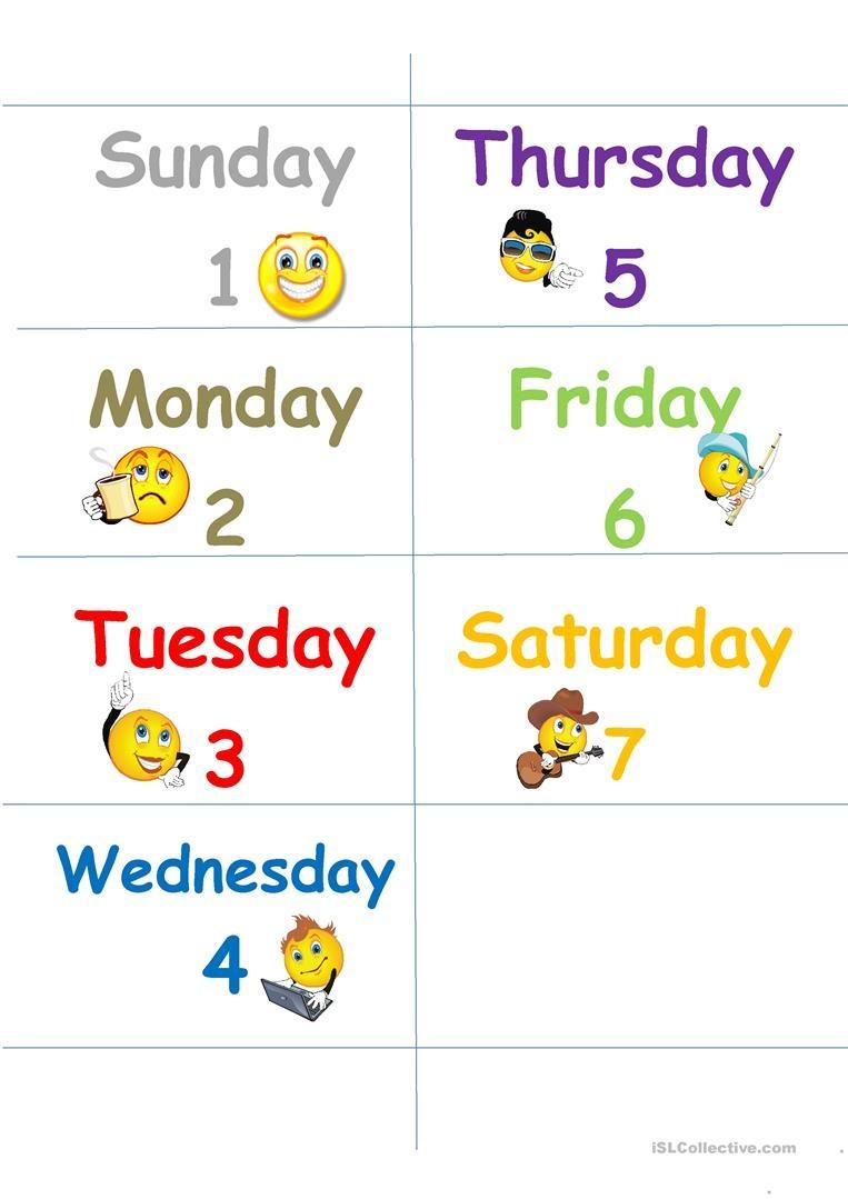 Days Of The Week Flash Cards Worksheet - Free Esl Printable - Free Printable Days Of The Week Cards