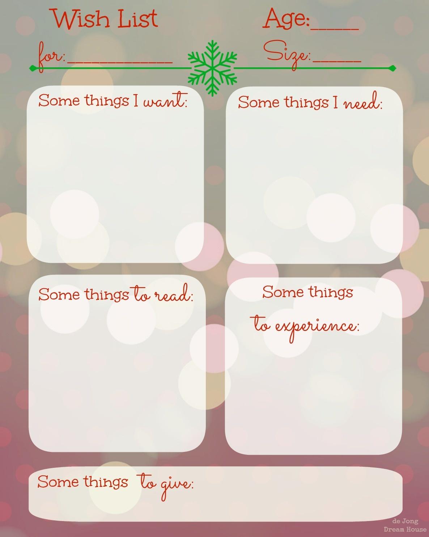 De Jong Dream House: The December List: Free Christmas Wishlist - Free Printable Christmas List Maker