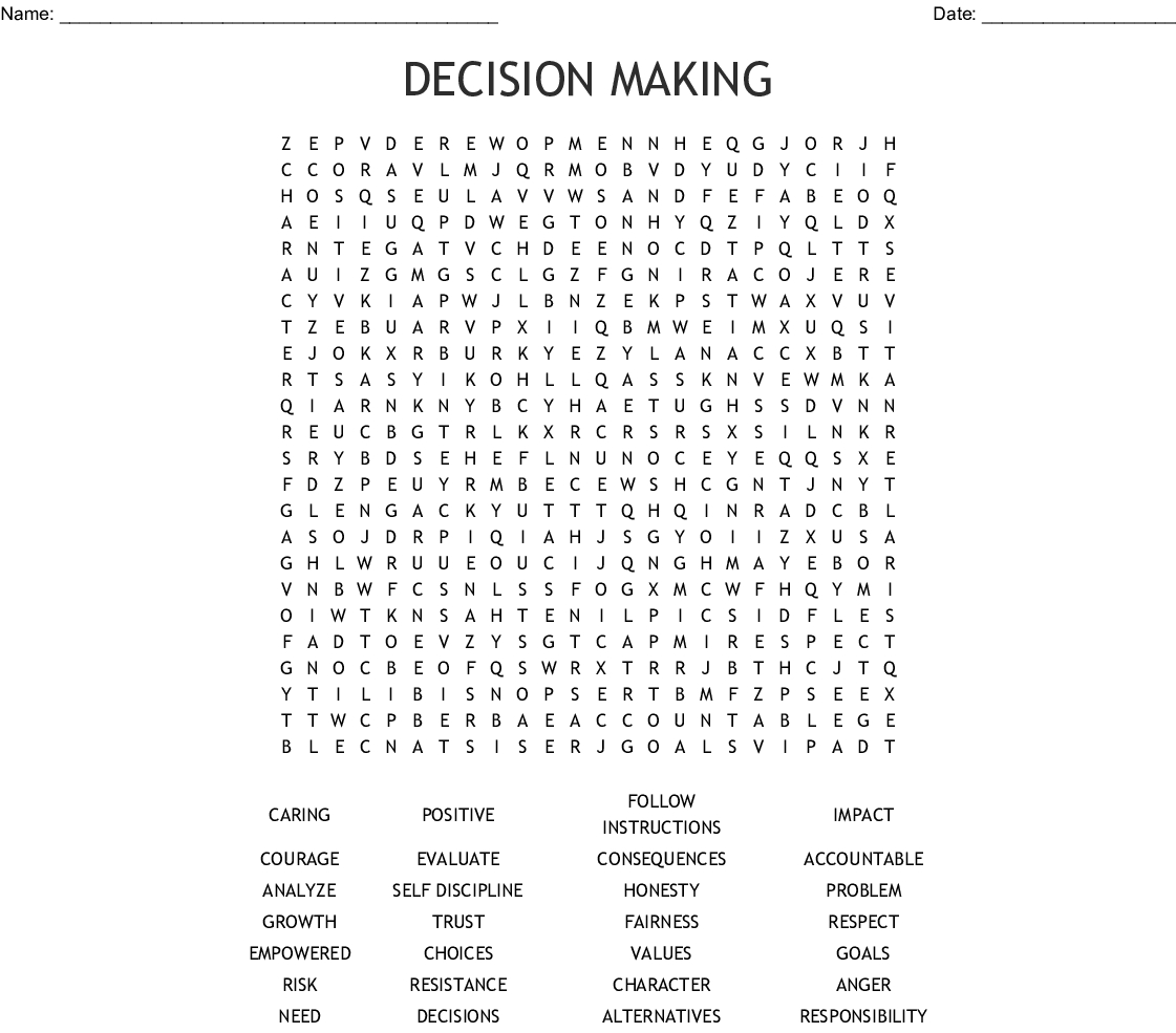 Decision Making Word Search - Wordmint - Create A Wordsearch Puzzle For Free Printable