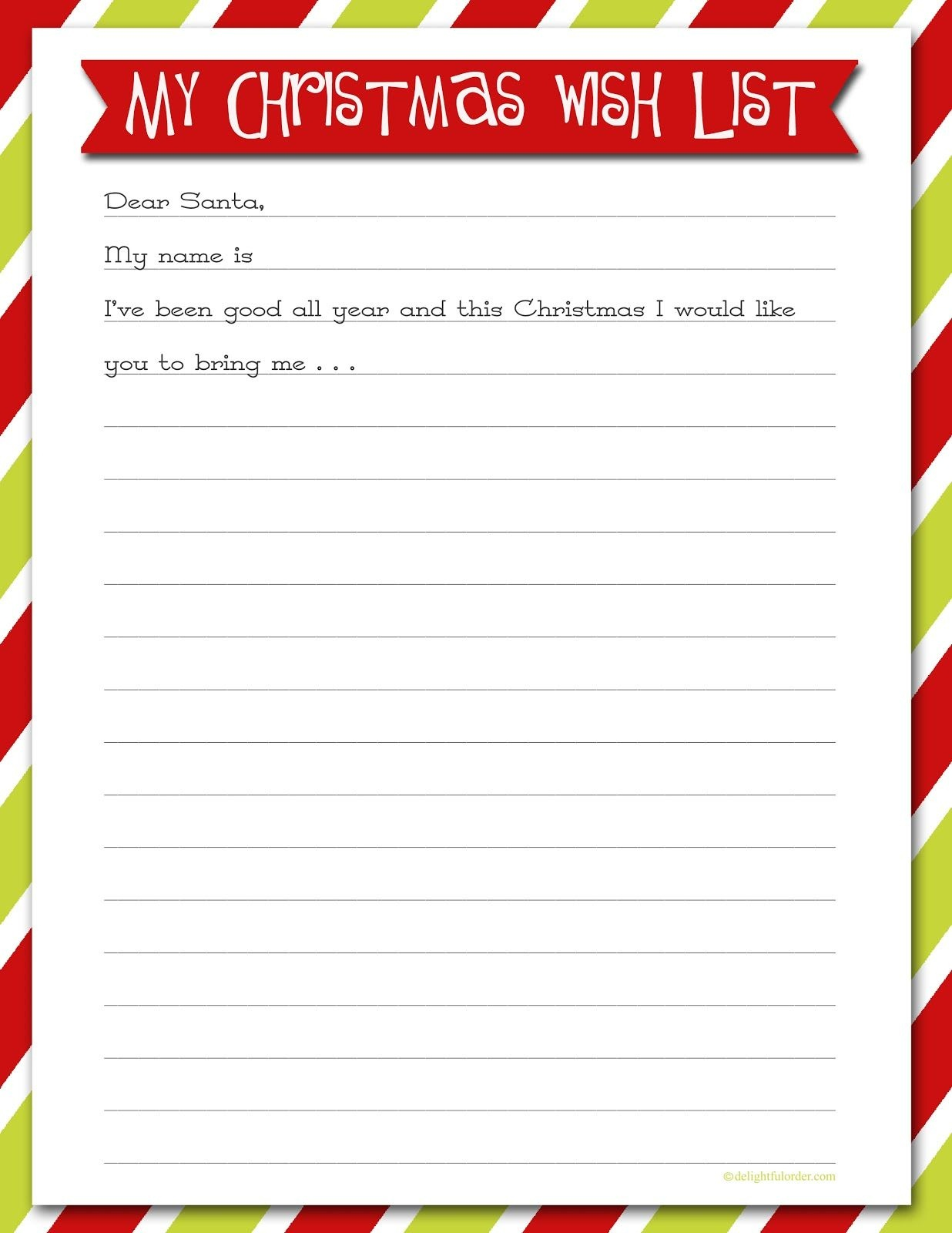 Delightful Order: Christmas Wish List - Free Printable | Delightful - Free Printable Christmas Wish List