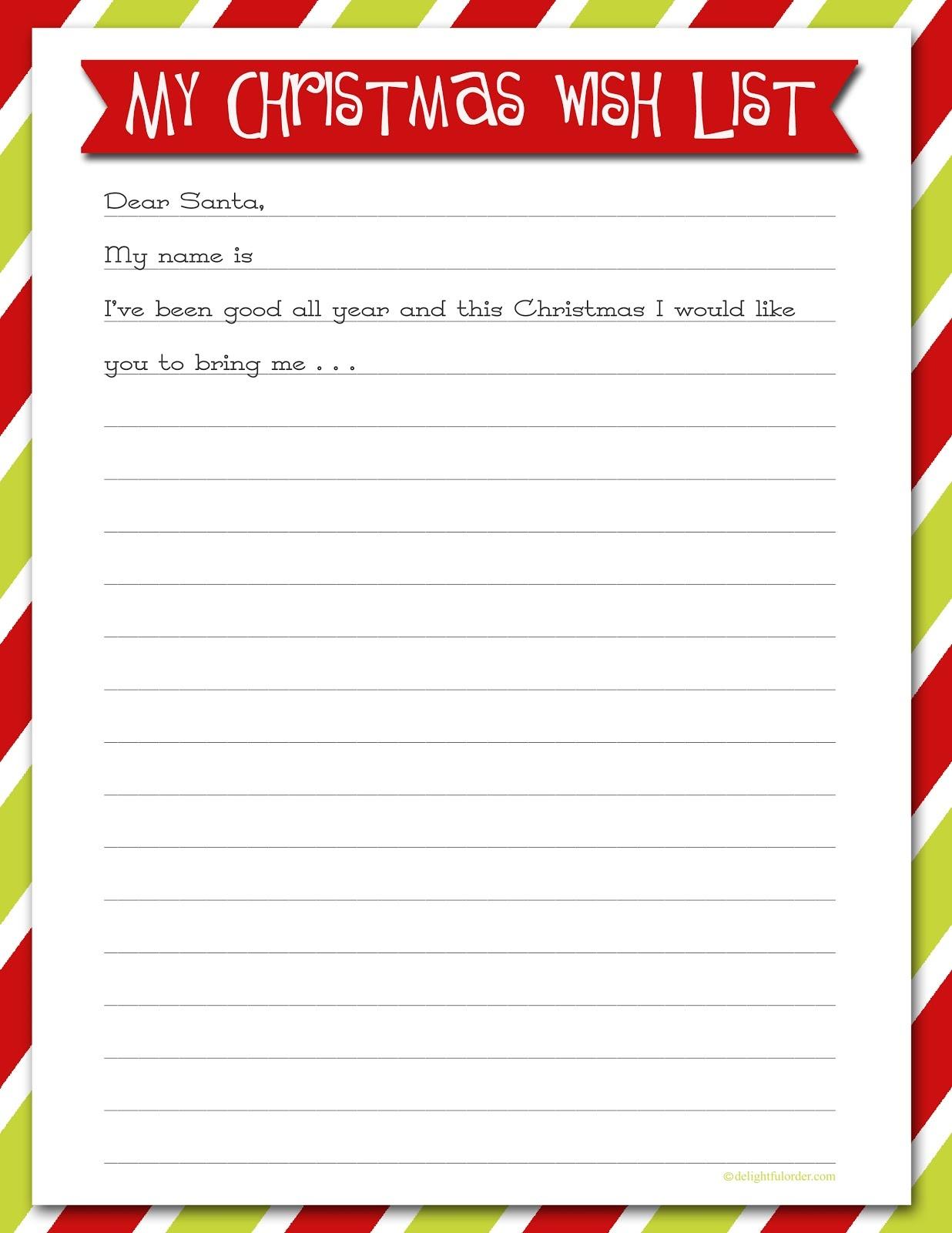 Delightful Order: Christmas Wish List - Free Printable - Free Printable Christmas List