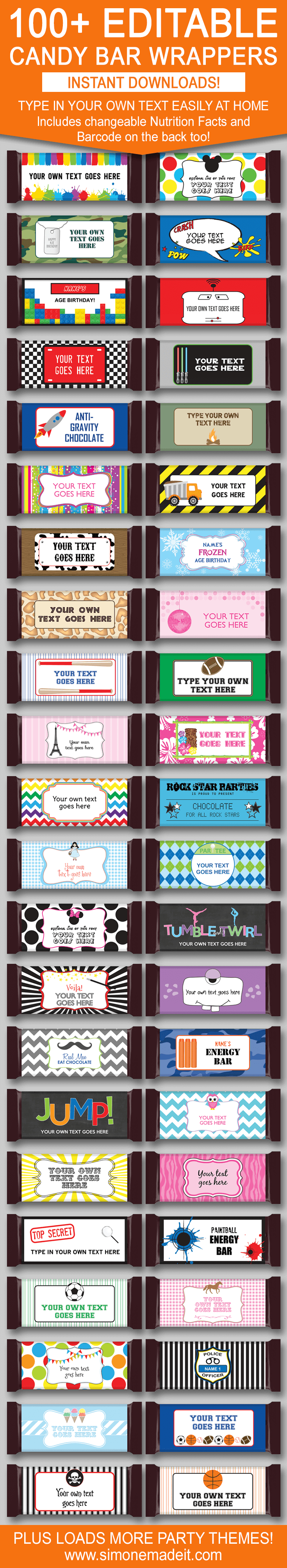 Diy Candy Bar Wrapper Templates | Party Favors | Chocolate Bar Labels - Free Printable Birthday Candy Bar Wrappers