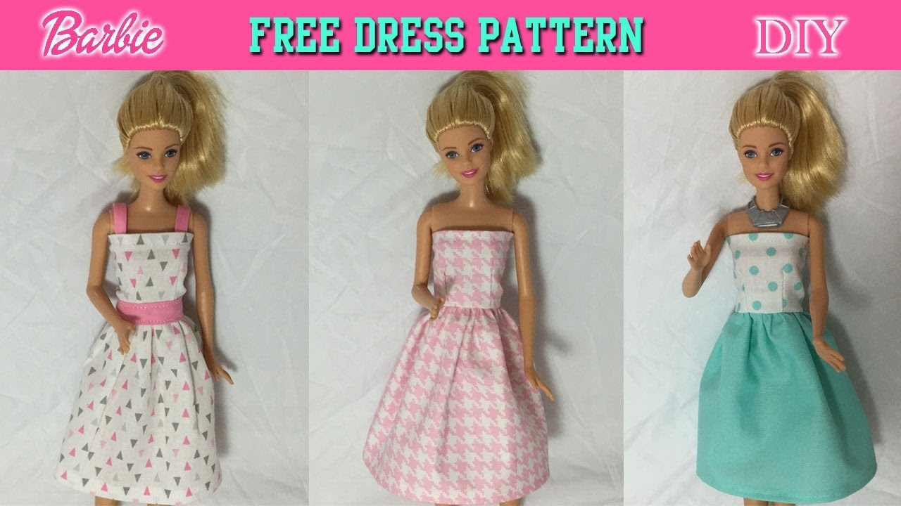 Diy Tutorial How To Make Barbie Doll Dress Free Pattern - Youtube - Easy Barbie Clothes Patterns Free Printable