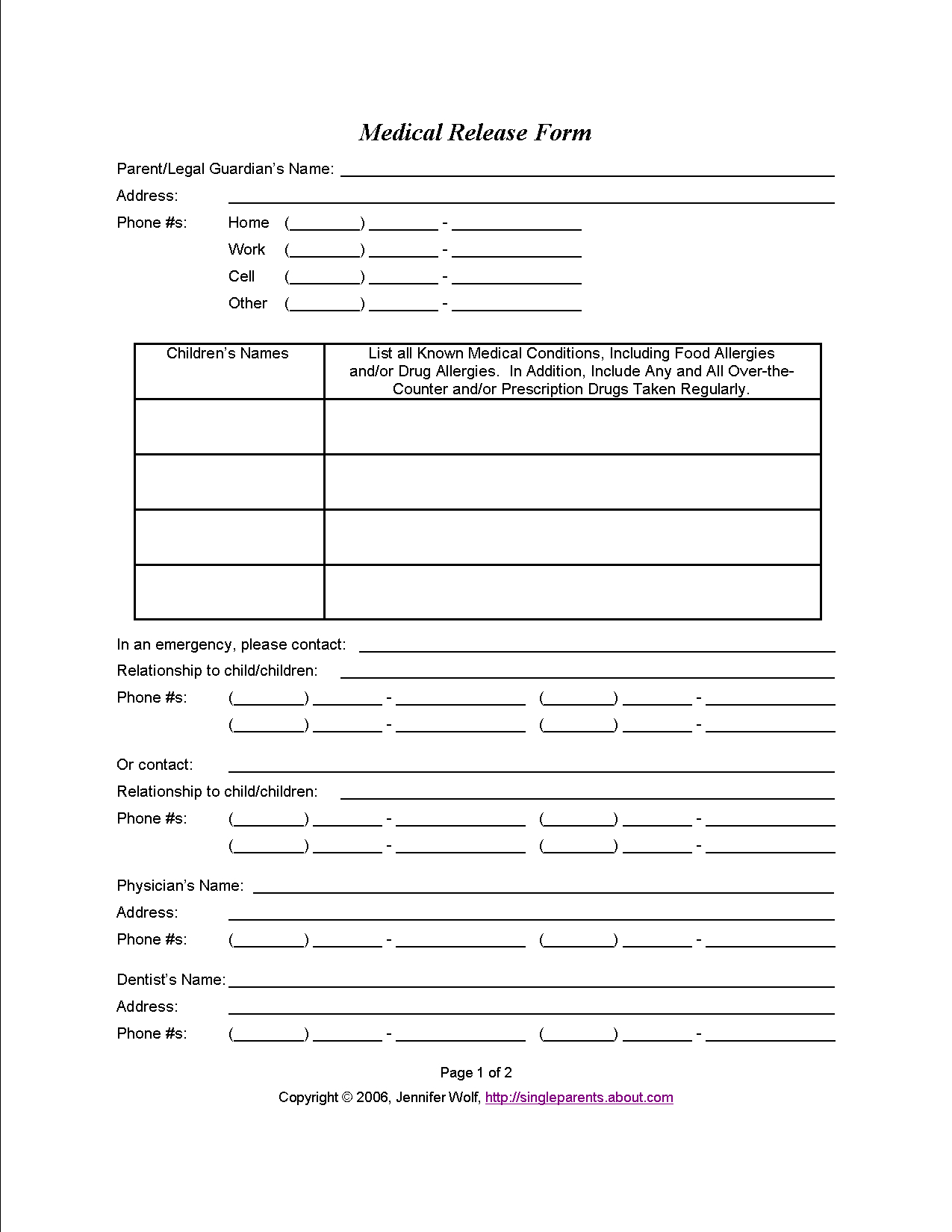 Do You Have A Medical Release Form For Your Kids? | Travel | Consent - Free Printable Caregiver Forms