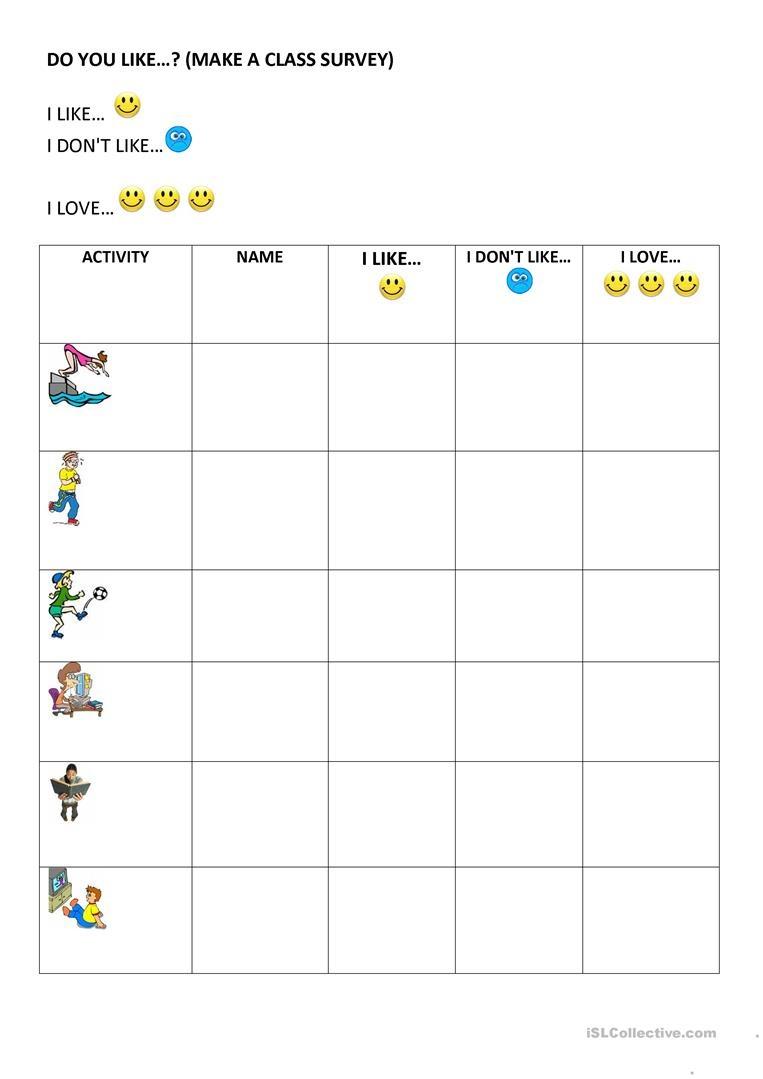 Do You Like? (Class Survey) Worksheet - Free Esl Printable - Make A Printable Survey Free
