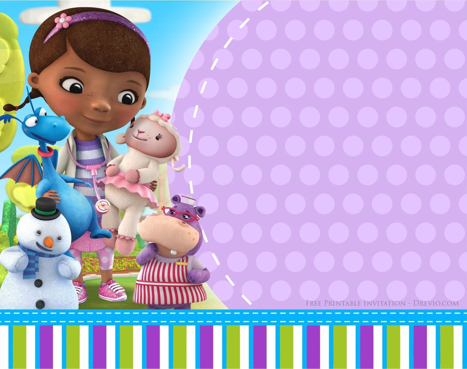 Doc Mcstuffins Birthday Invitation | Party Printables | Doc - Doctor Who Party Invitations Printable Free