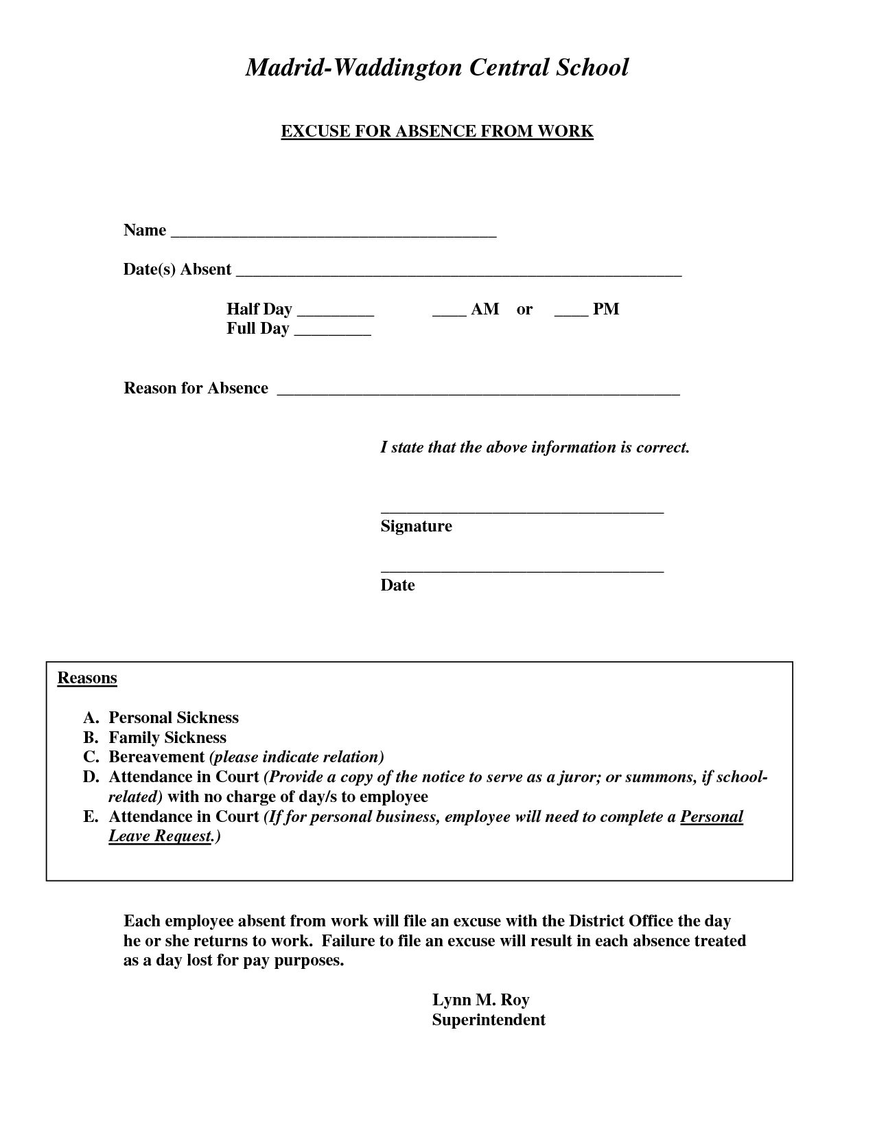 Doctors Excuse For Work Template   Excuse For Absence From Work - Free Printable Doctor Excuse Notes
