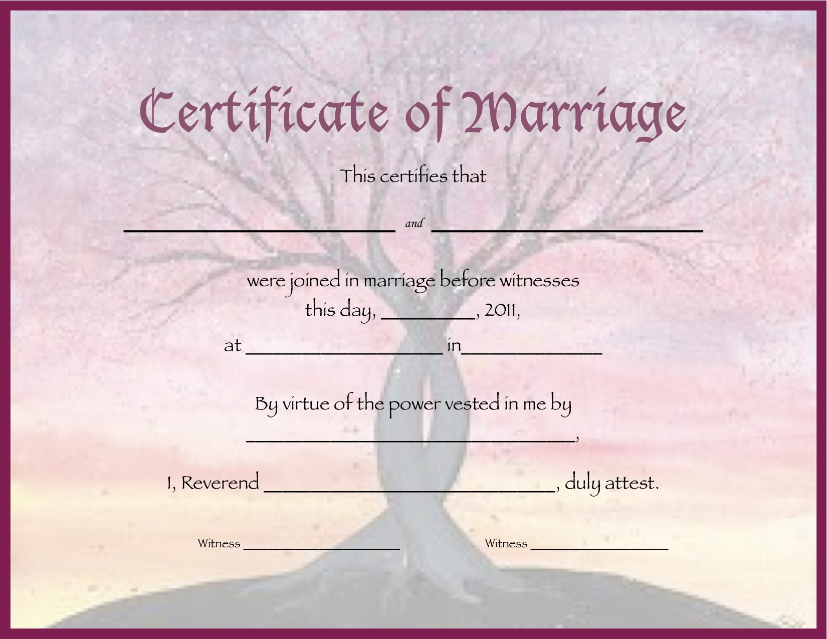 Document-Template-Certificate-New-Free - Free Printable Wedding Certificates