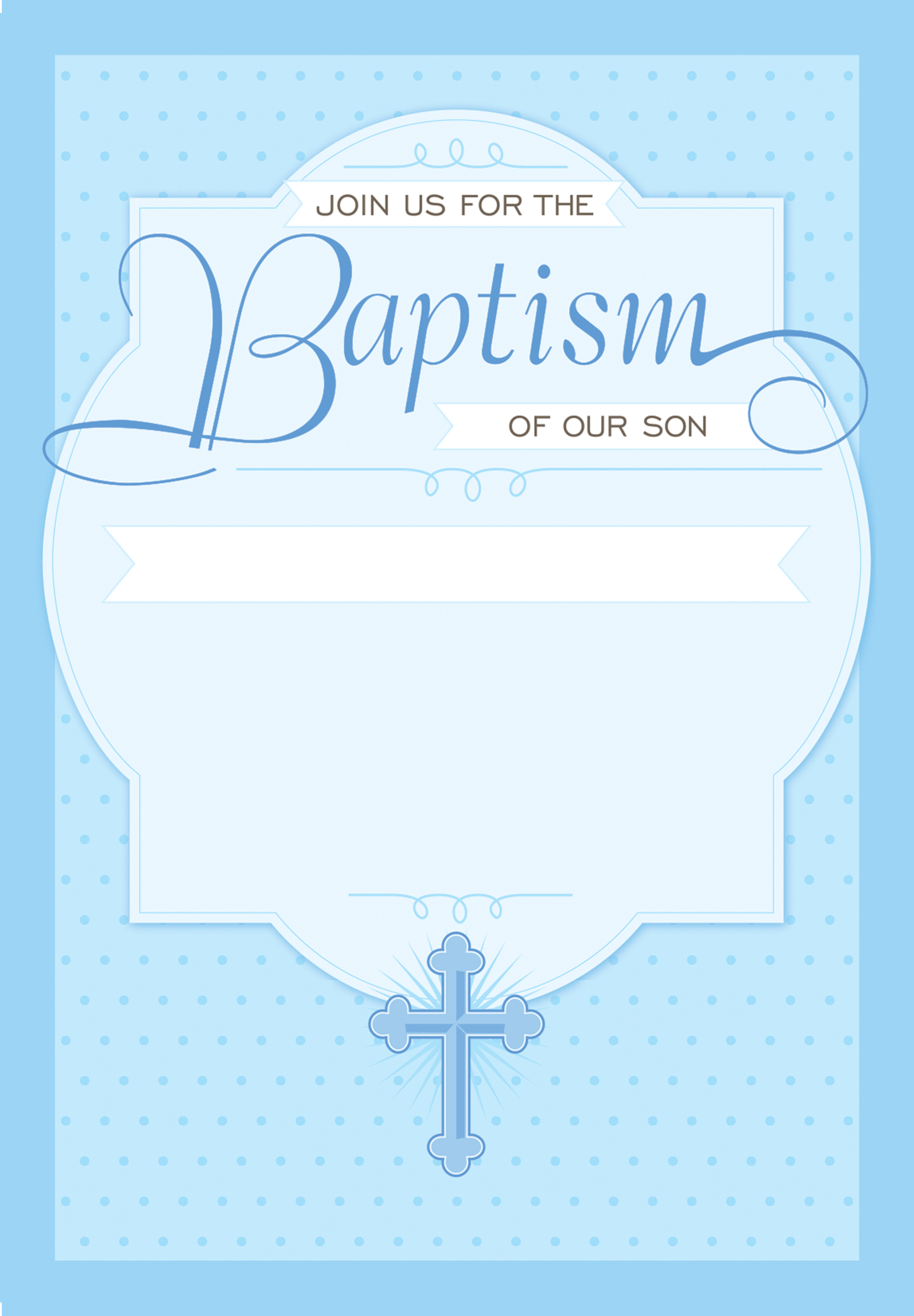 Dotted Blue - Free Printable Baptism & Christening Invitation - Free Printable Personalized Baptism Invitations