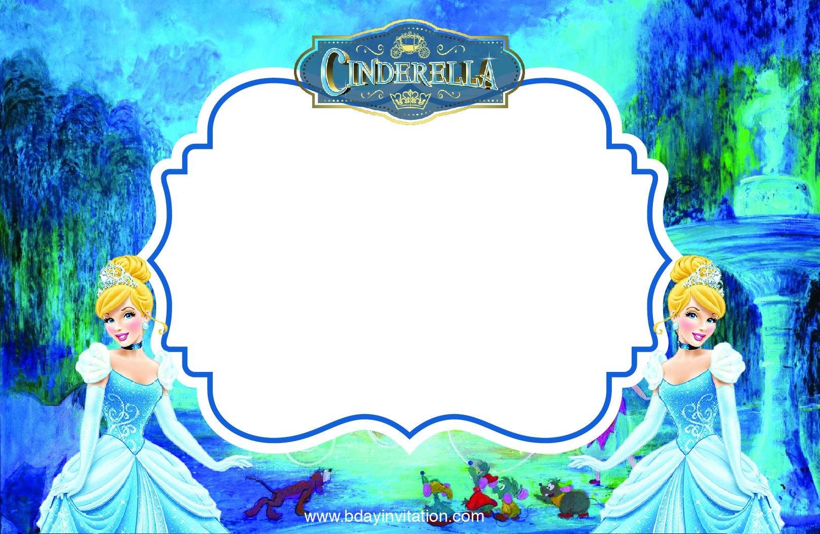 Download Free Printable Disney Cinderella Party Invitation Template - Free Printable Disney Invitations