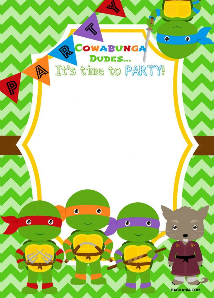 Free Printable Ninja Turtle Birthday Invitations