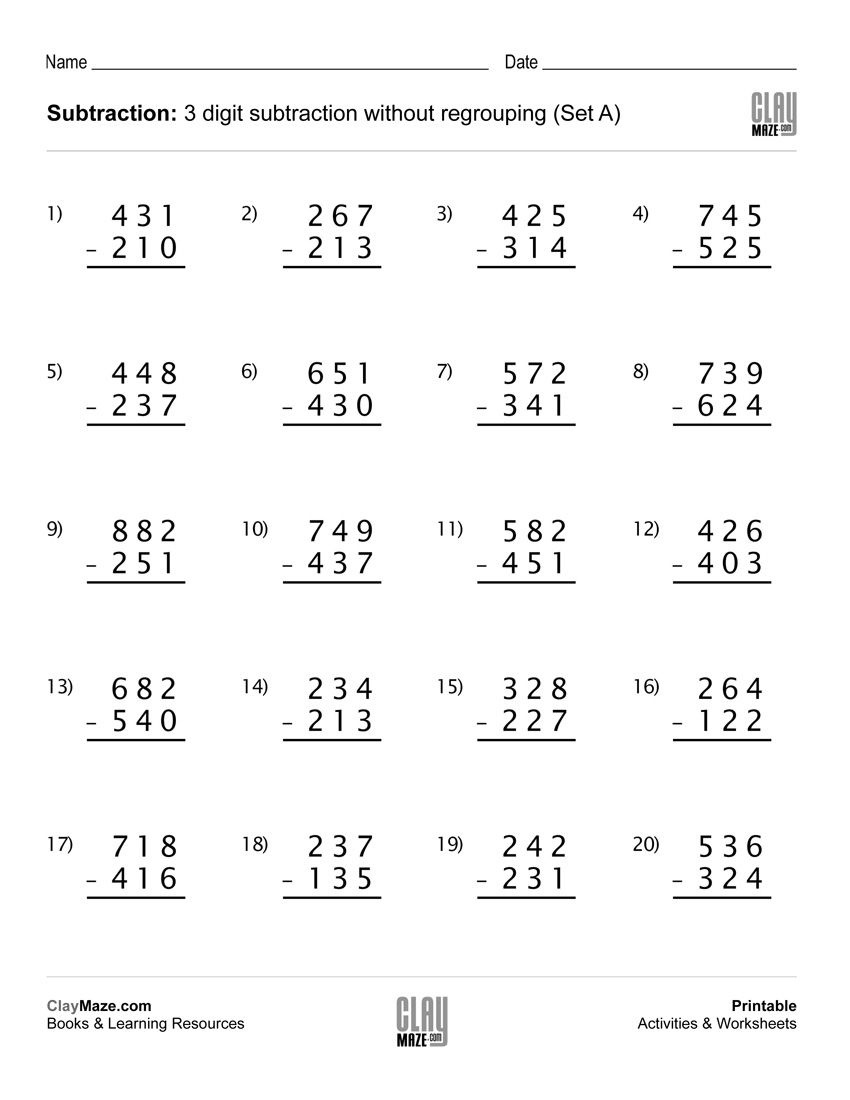 Download Our Free Printable 3 Digit Subtraction Worksheet With No - Free Printable 3 Digit Subtraction With Regrouping Worksheets