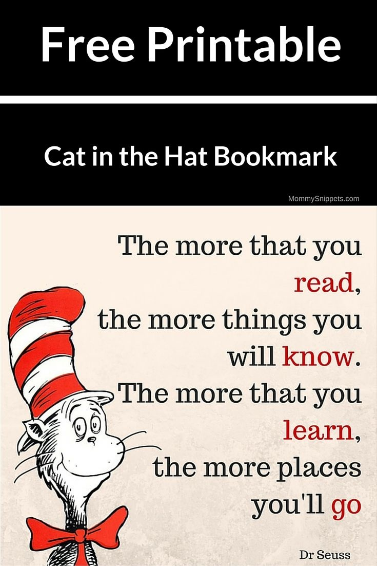 Download Your Free Printable Cat In The Hat Bookmark.   All Things - Free Printable Cat In The Hat Pictures