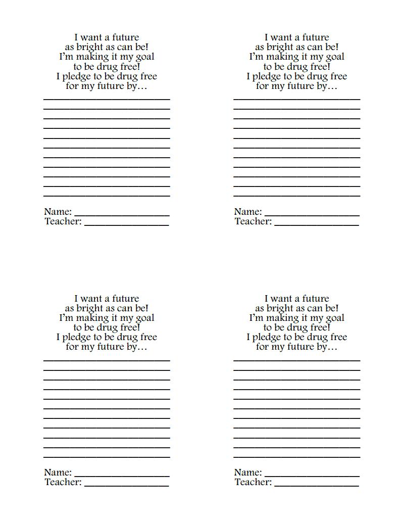 Drug Free Pledge.pdf | Red Ribbon Week | Drug Free, Elementary - Free Printable Drug Free Pledge Cards