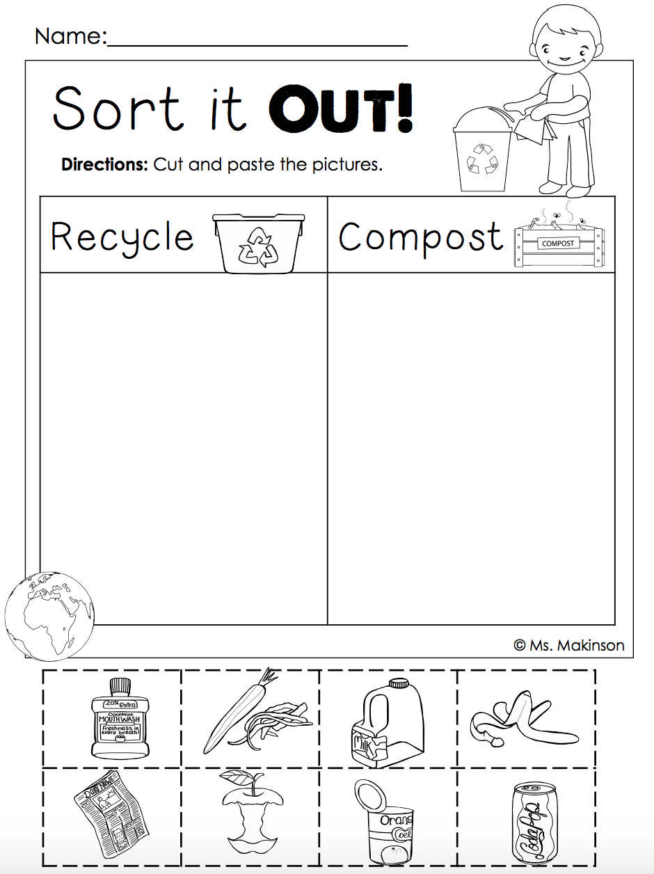 Earth Day Free   Homeschool.   Earth Day Activities, Earth Day - Free Printable Recycling Worksheets