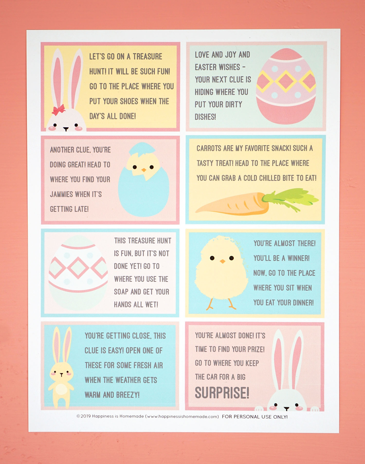 Easter Scavenger Hunt - Free Printable! - Happiness Is Homemade - Easter Scavenger Hunt Riddles Free Printable
