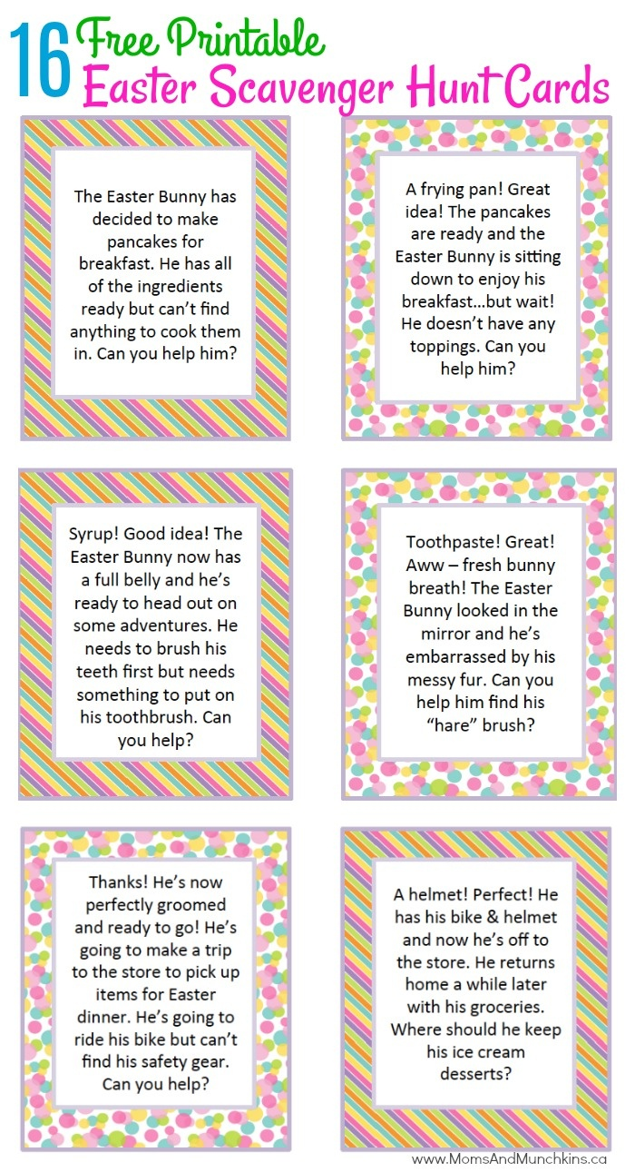 Easter Scavenger Hunt Ideas - Moms & Munchkins - Easter Scavenger Hunt Riddles Free Printable