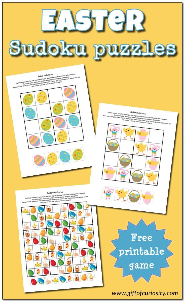 Easter Sudoku {Free Printables}   Easter Crafts   Easter Puzzles - Free Printable Critical Thinking Puzzles