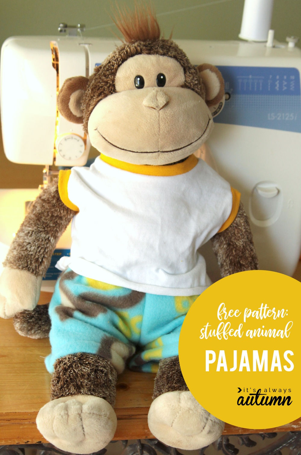 Easy + Free Sewing Pattern For Teddy Bear Pajamas - It's Always Autumn - Free Printable Teddy Bear Clothes Patterns
