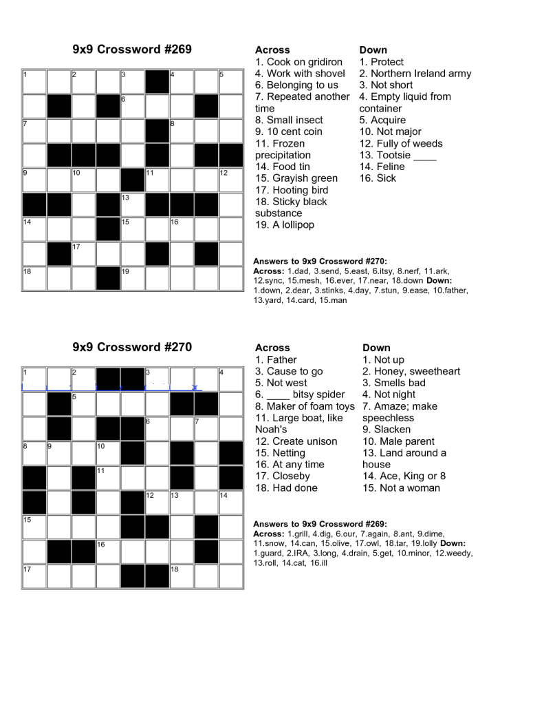 Easy Kids Crossword Puzzles   Kiddo Shelter   Educative Puzzle For - Free Easy Printable Crossword Puzzles For Kids