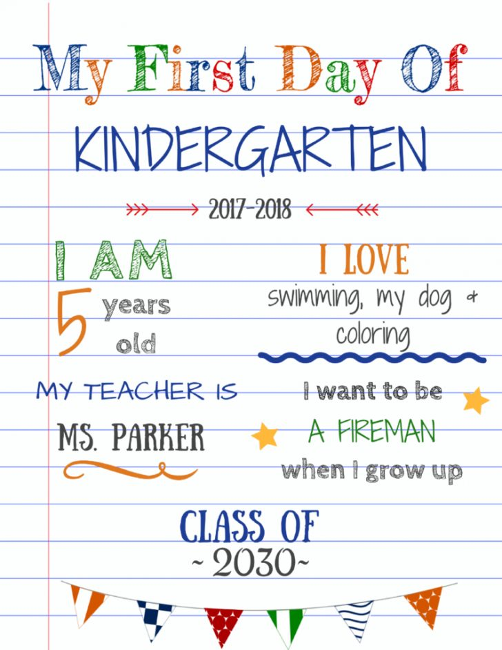 My First Day Of Kindergarten Free Printable