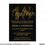 Elegant Gold Eighteen 18 Birthday Invitation #eighteen #eighteenth   Free Printable 18Th Birthday Invitations