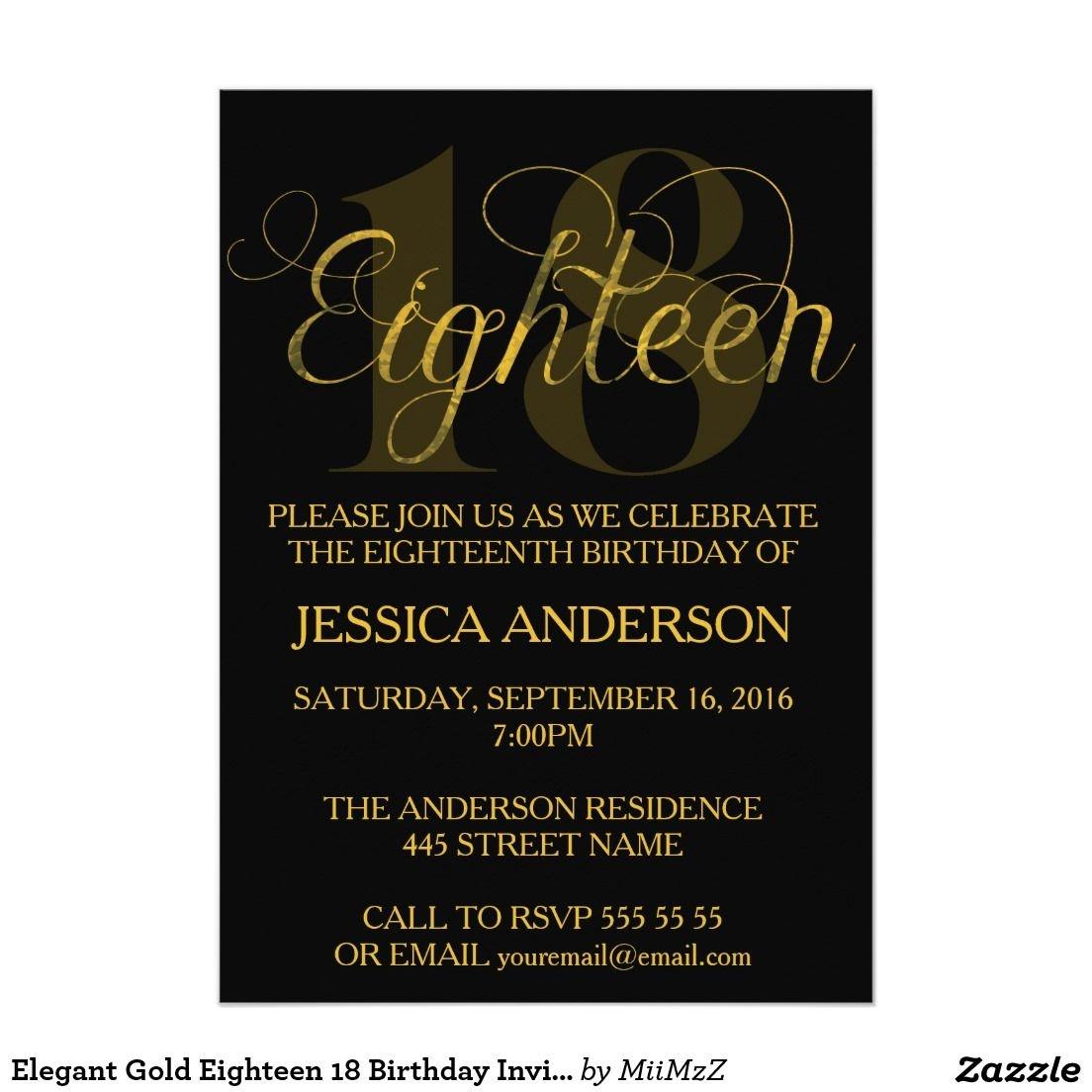 Elegant Gold Eighteen 18 Birthday Invitation #eighteen #eighteenth - Free Printable 18Th Birthday Invitations