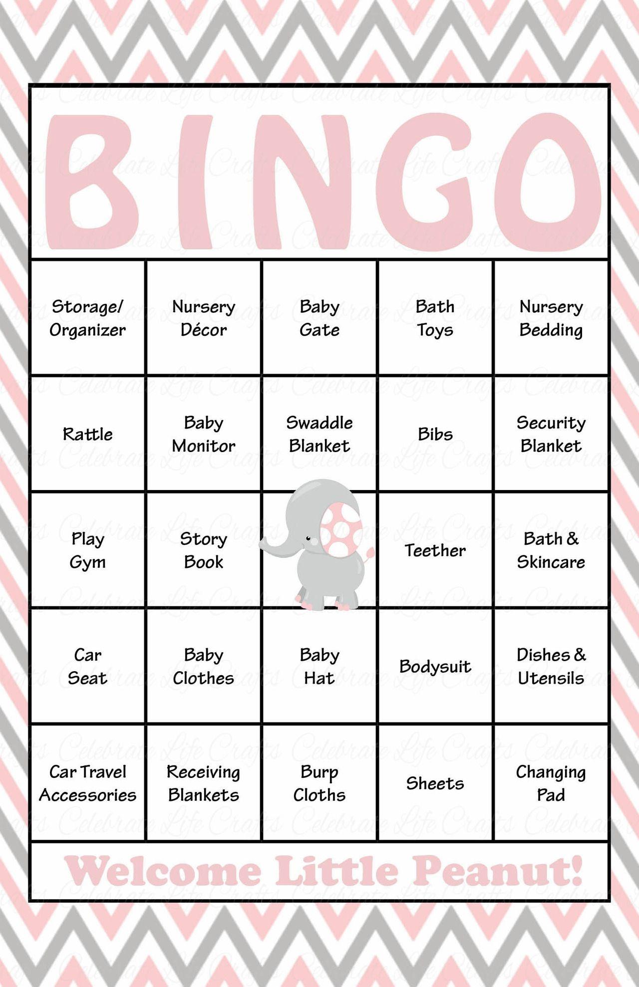 Elephant Baby Shower - Baby Bingo Cards - Printable Download - Baby - Baby Bingo Free Printable