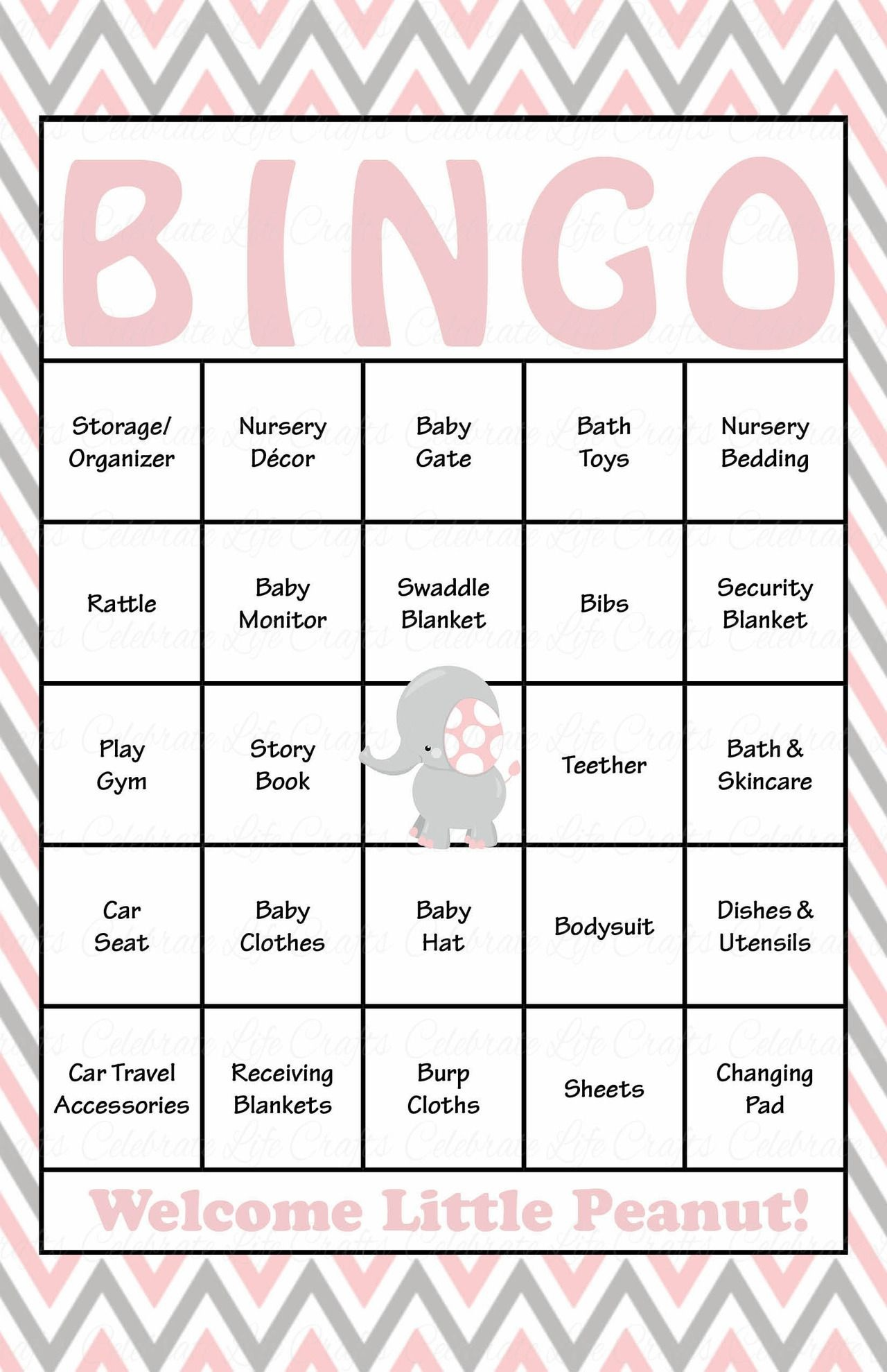 Elephant Baby Shower - Baby Bingo Cards - Printable Download - Baby - Free Printable Baby Shower Bingo Cards Pdf