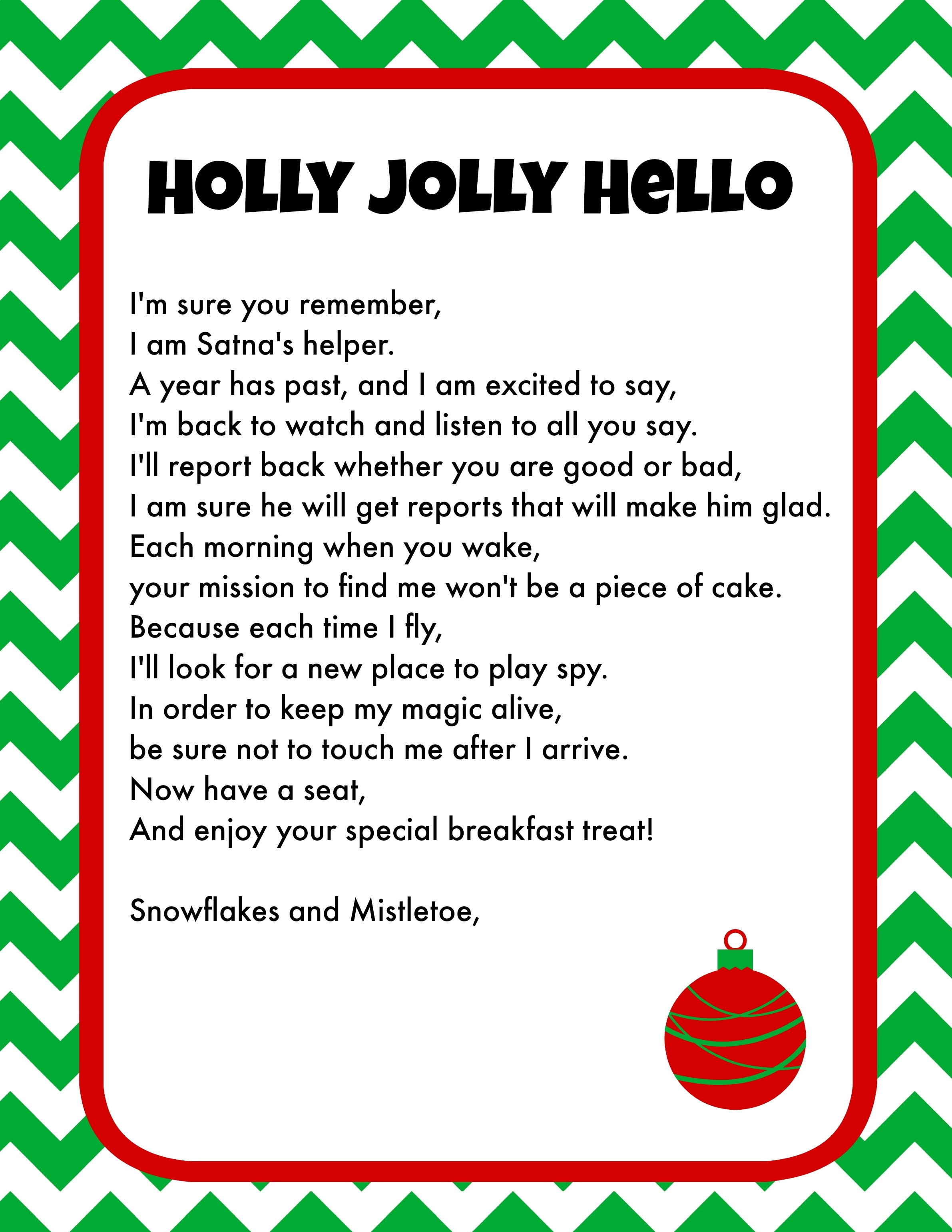 Elf On The Shelf Breakfast Ideas Printable Letter & Christmas Pjs - Free Printable Elf On The Shelf Letter