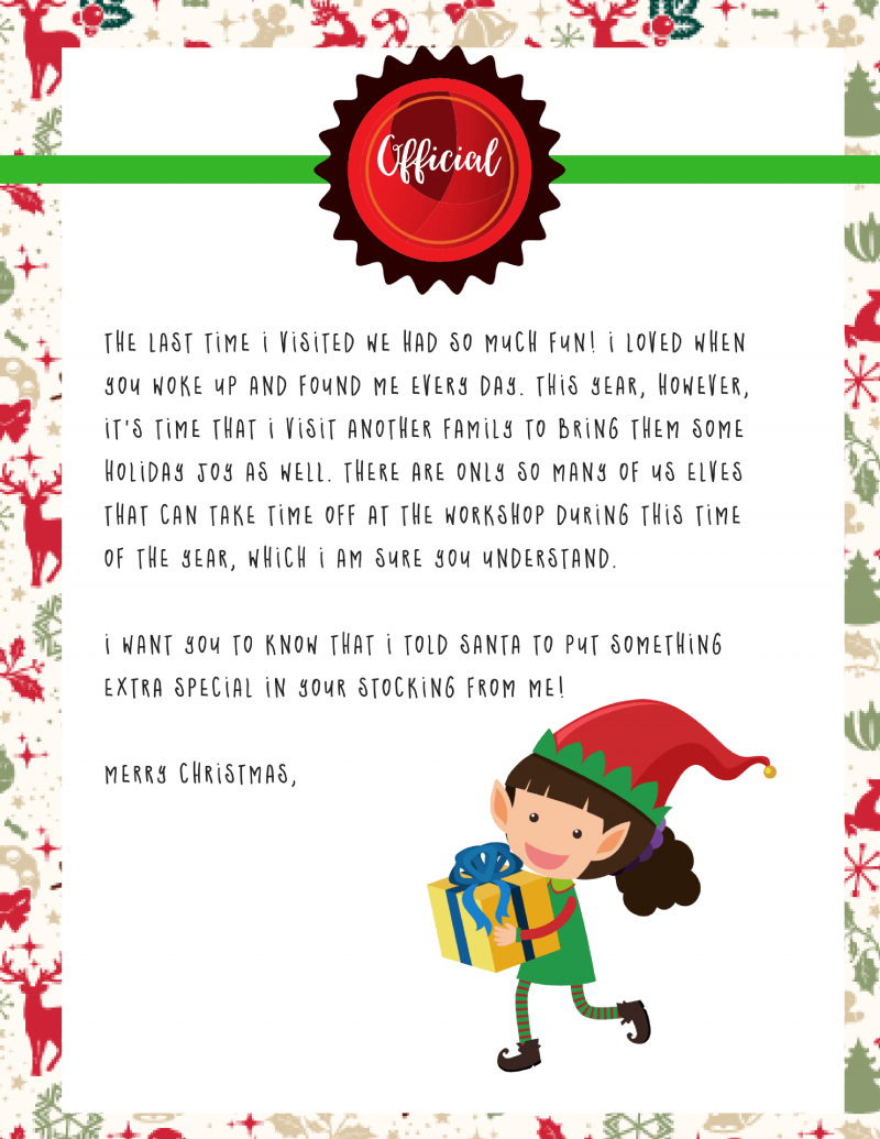 Elf On The Shelf Goodbye Letter : Free Printable - - Free Printable Elf On The Shelf Letter