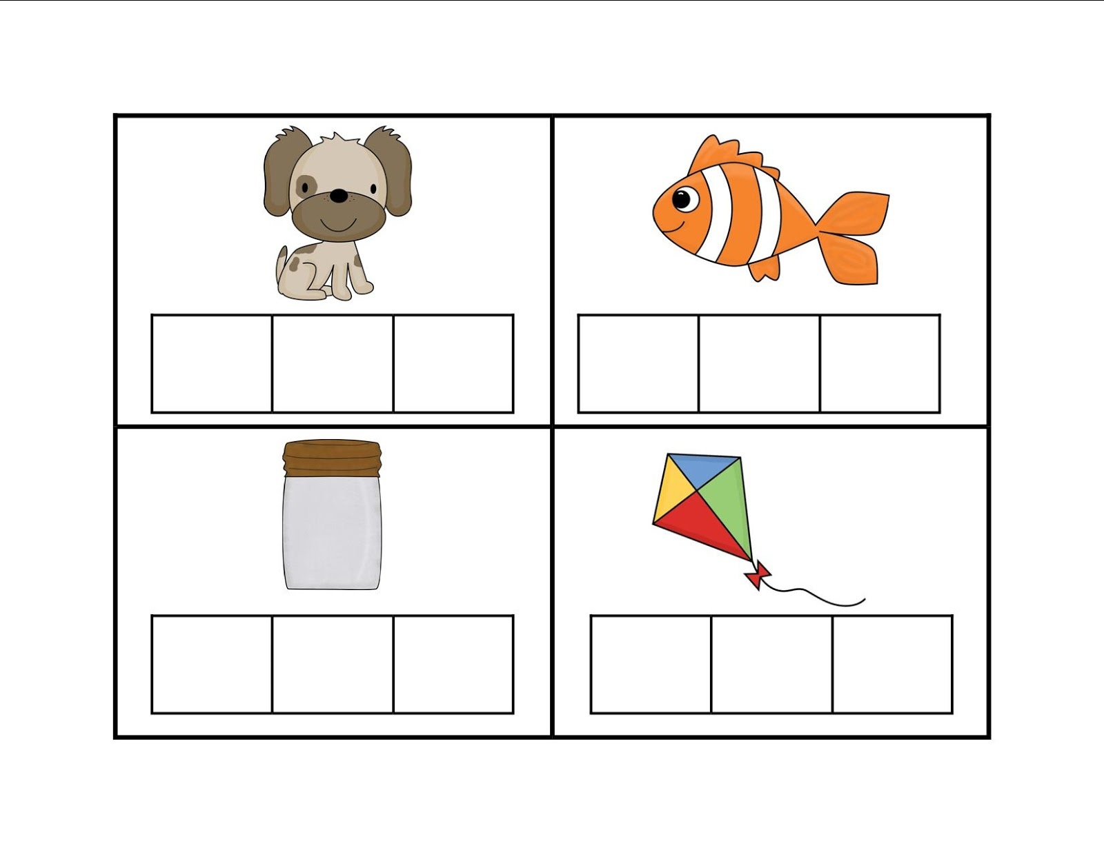 Elkonin Boxes Template. Elkonin Boxes Phonics Worksheets. Printable - Free Printable Elkonin Boxes